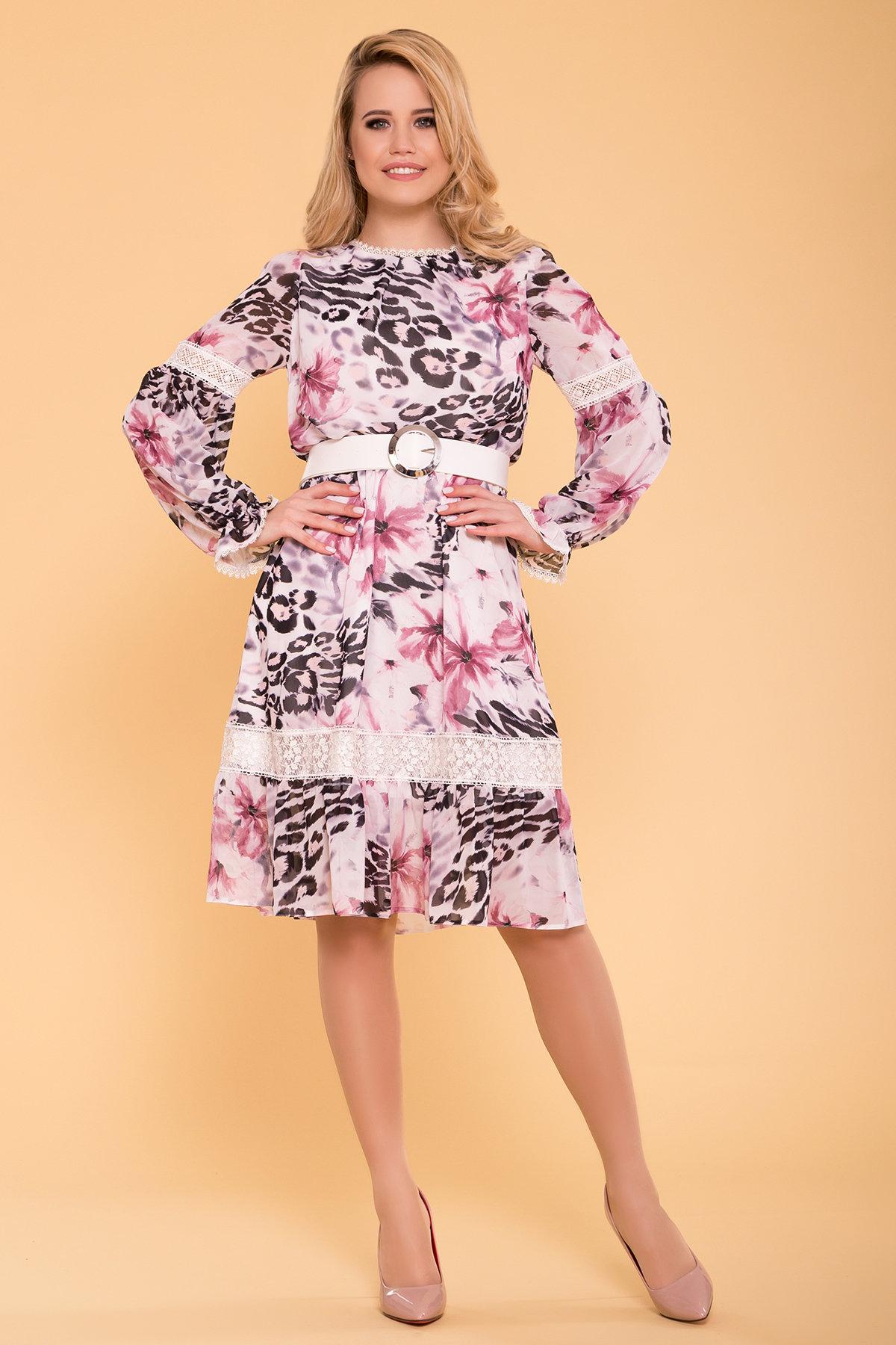 Платье Санем 6587 Цвет: Леоп цвет мол/пудр/мол