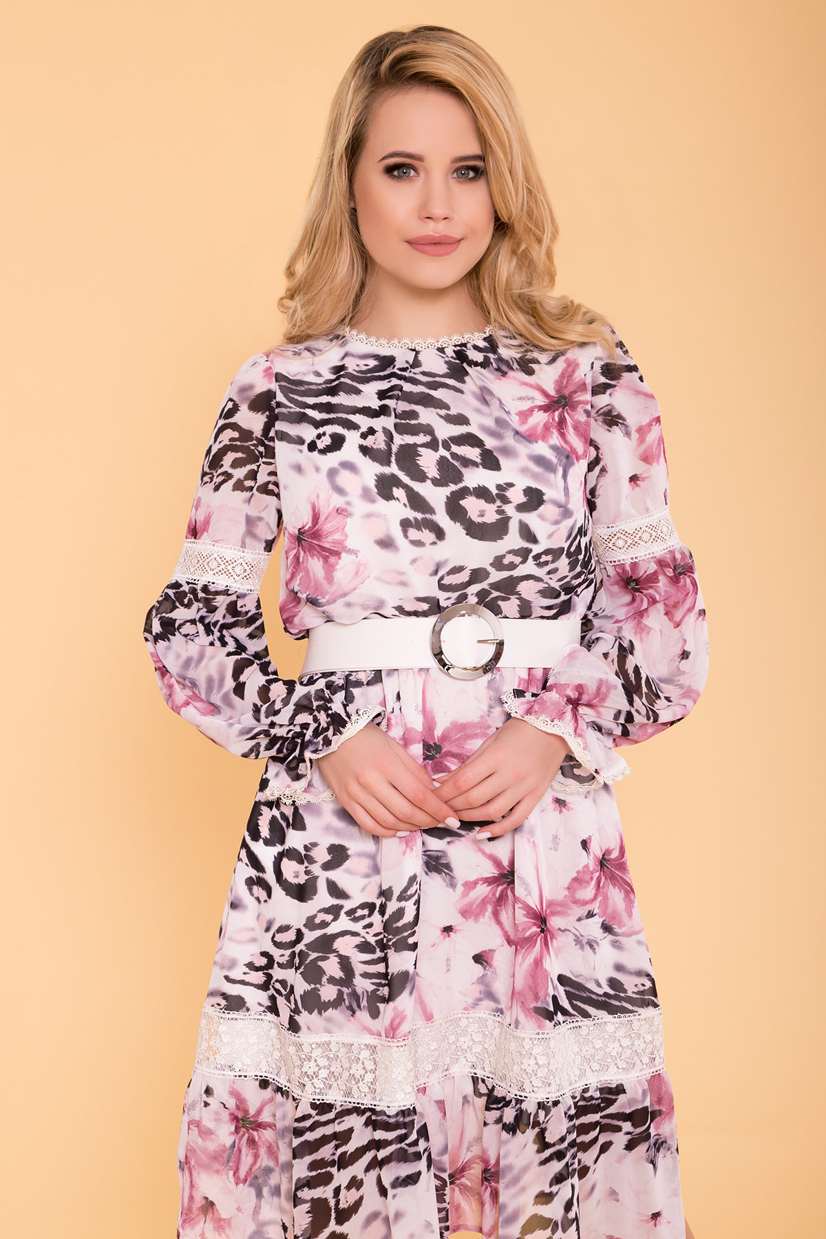 Санем платье из шифона 6587 Цвет: Леоп цвет мол/пудр/мол