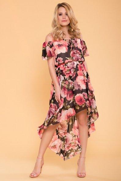Платье Фрезия 5072 Цвет: Розы черный/пудра