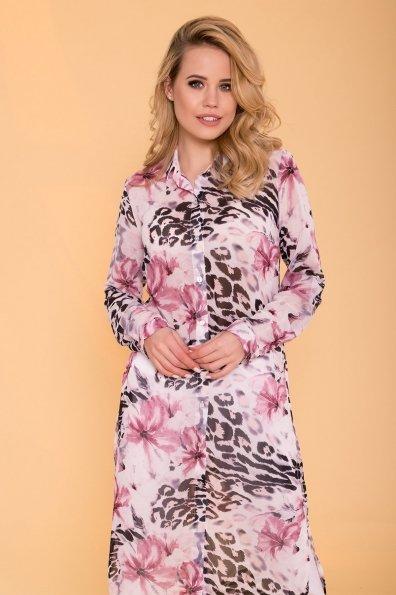 Рубашка с цветочным принтом Лайк 6892 Цвет: Леоп цвет мол/пудр