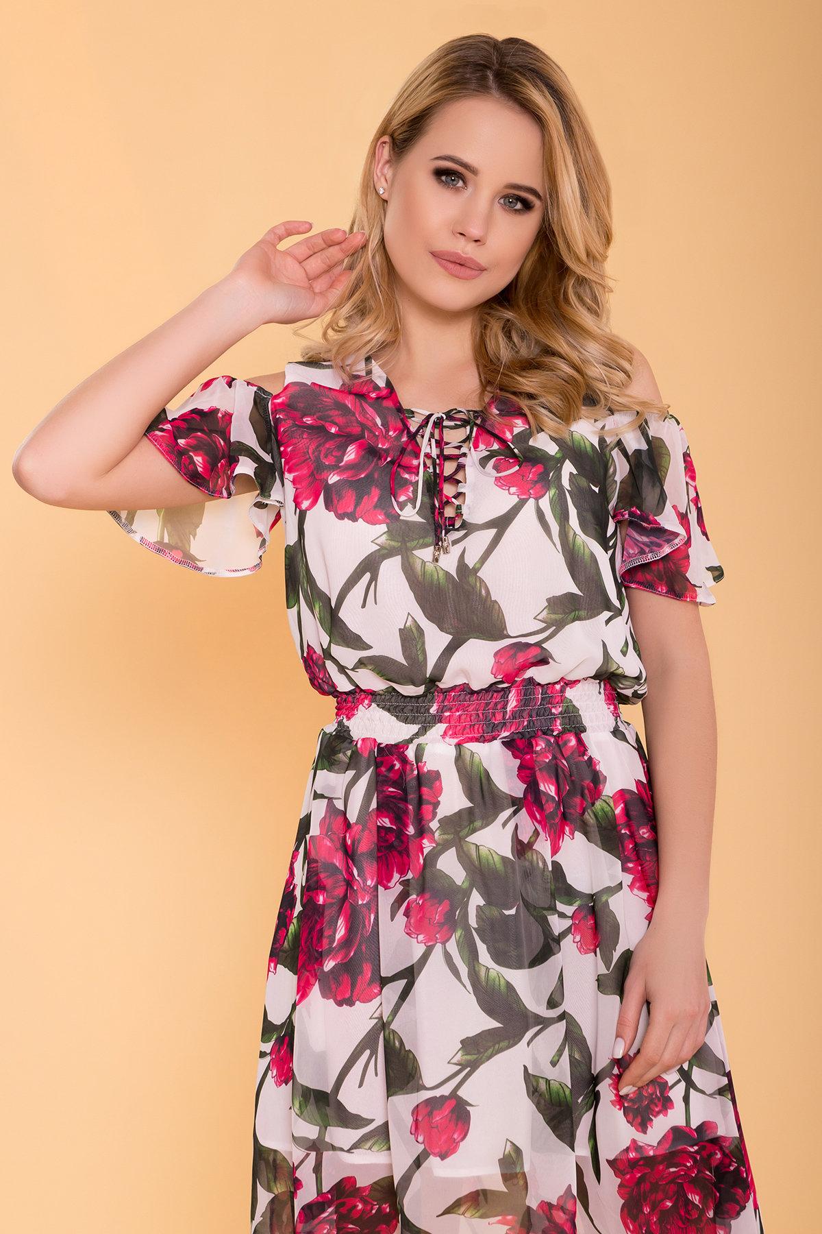 Платье Фрезия 5072 Цвет: Молоко пионы красные