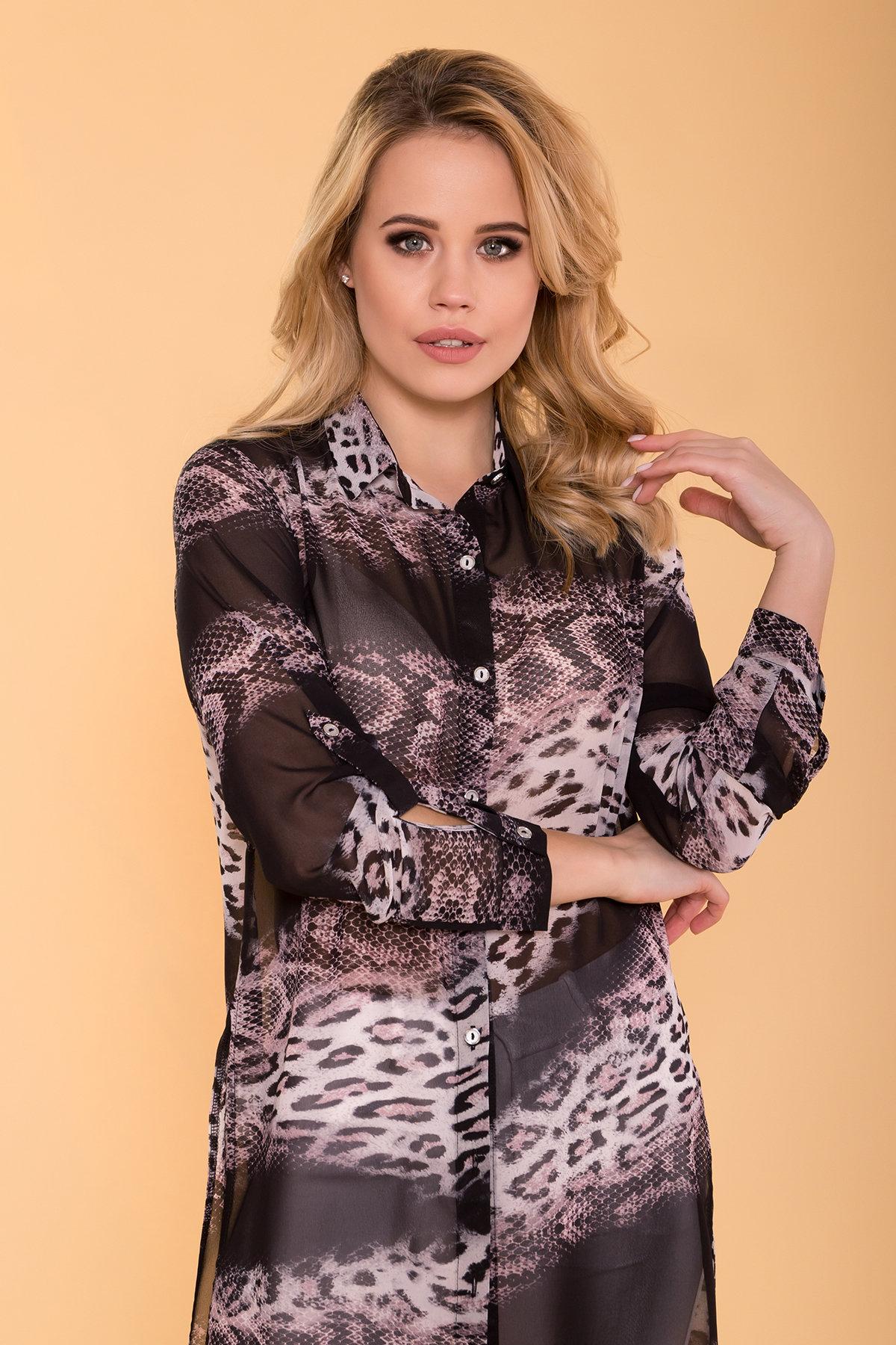 Рубашка с цветочным принтом Лайк 6892 АРТ. 41996 Цвет: Леоп абстр мол/чер - фото 4, интернет магазин tm-modus.ru