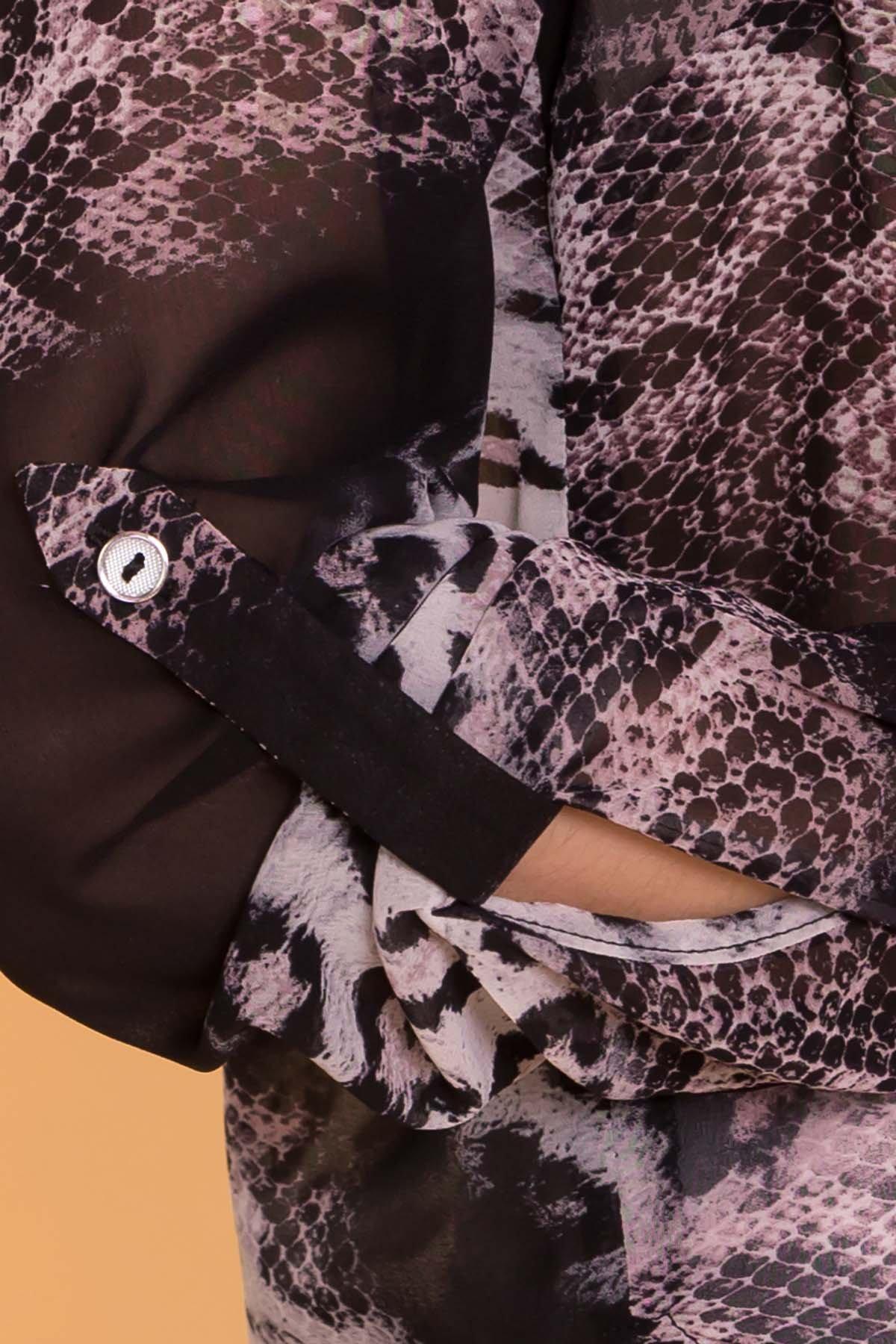 Рубашка с цветочным принтом Лайк 6892 АРТ. 41996 Цвет: Леоп абстр мол/чер - фото 5, интернет магазин tm-modus.ru