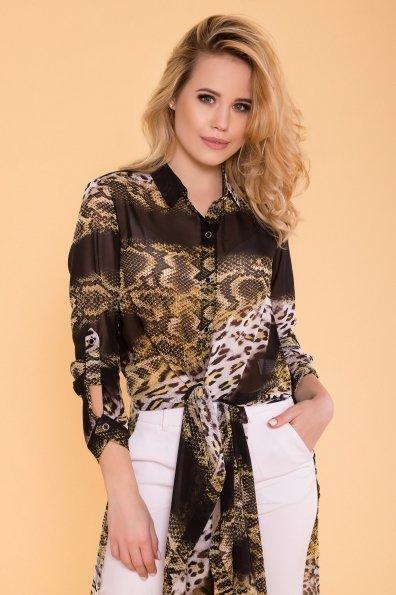 Рубашка с цветочным принтом Лайк 6892 Цвет: Леоп абстр беж/чер