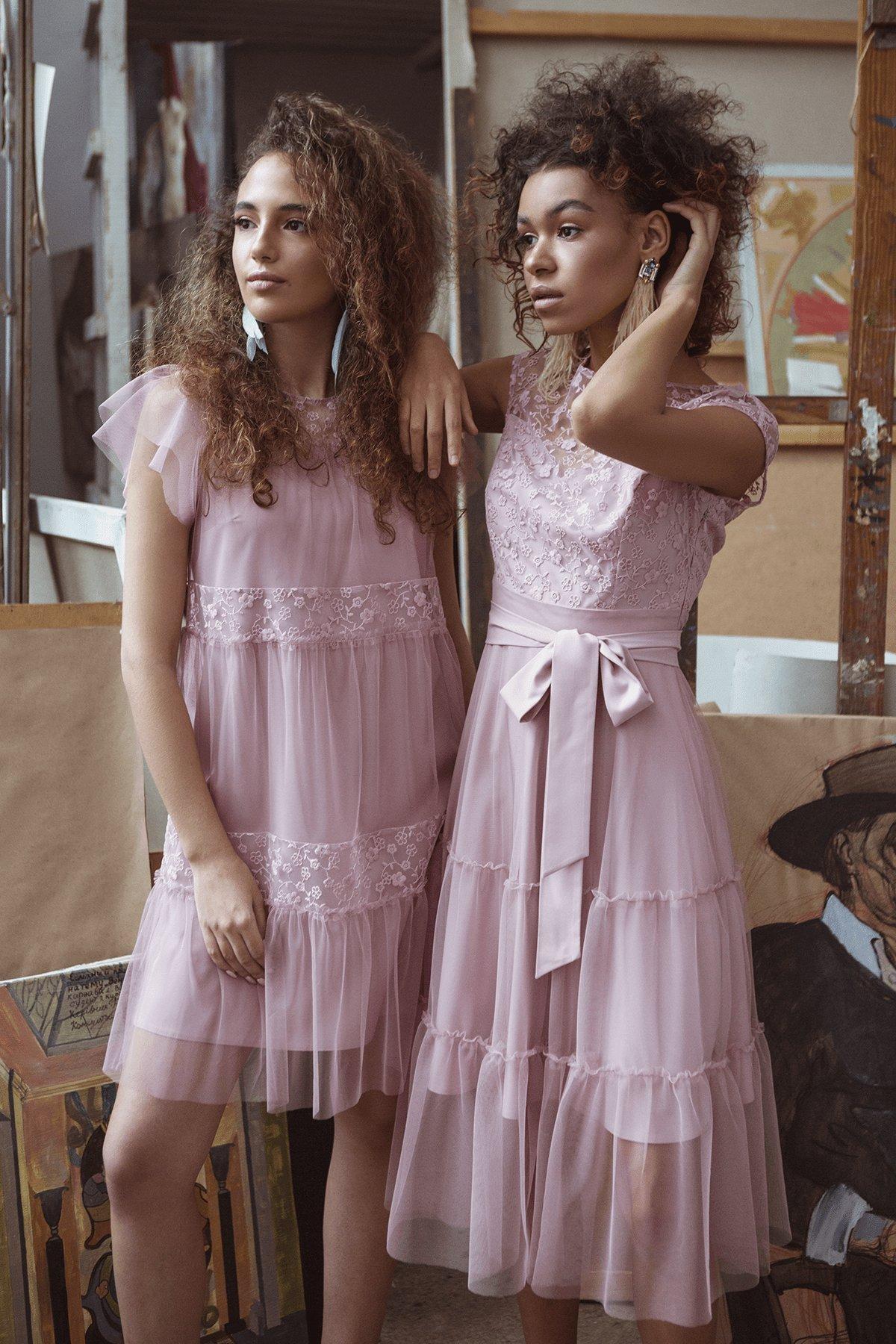 Коктейльное Платье Фати 6490 Цвет: Серо-розовый/серо-роз/сер-роз
