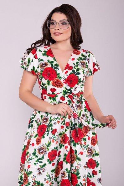 Платье Мидея миди DONNА 6931 Цвет: Цветы молоко/красный