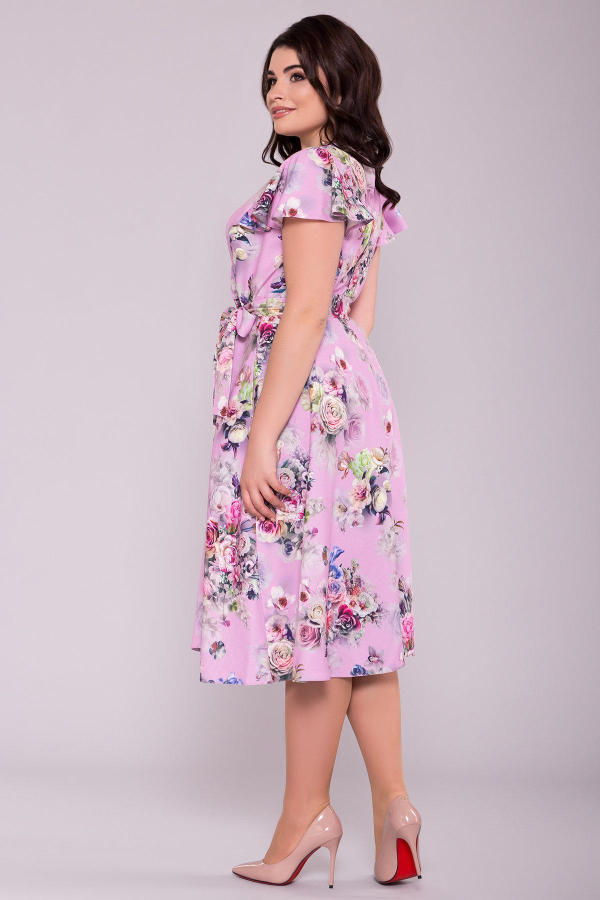 Платье Мидея миди DONNА 6931 АРТ. 42056 Цвет: Цветы розовый/пудра - фото 2, интернет магазин tm-modus.ru