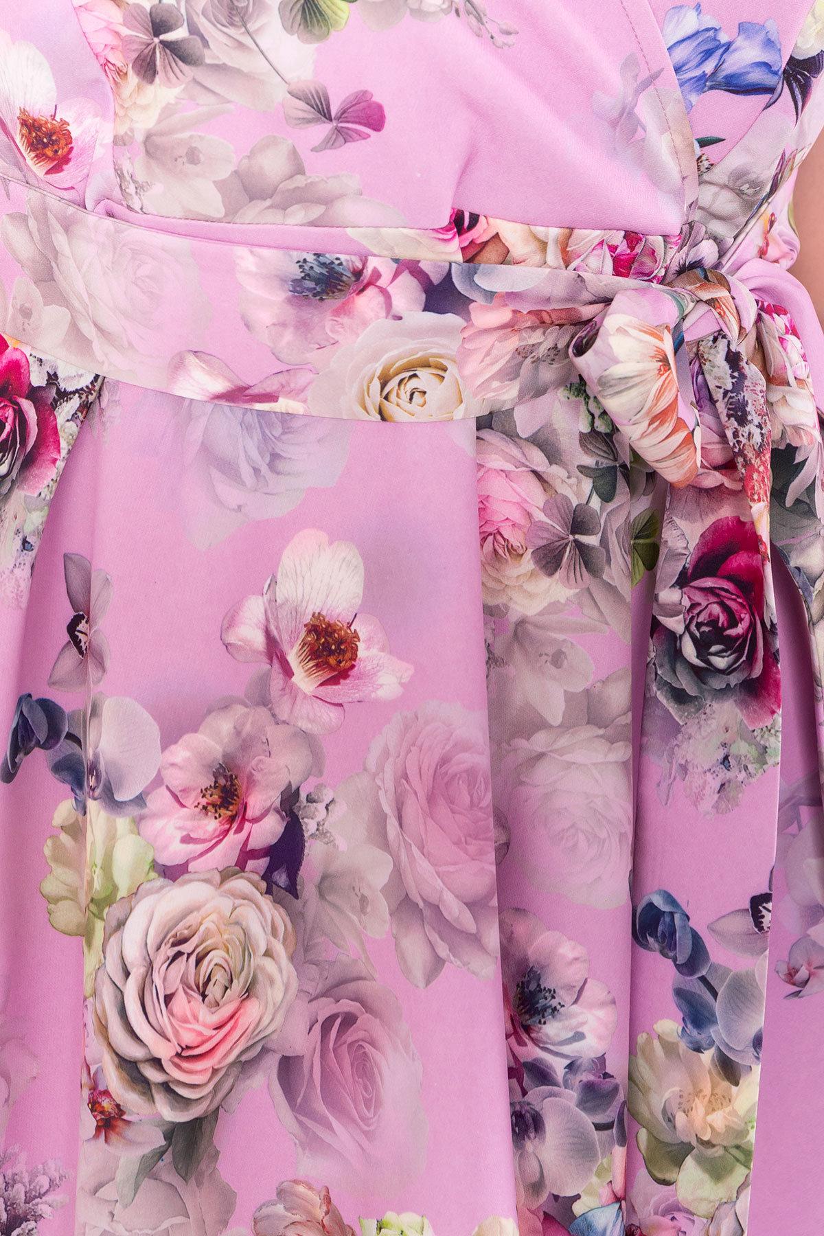Платье Мидея миди DONNА 6931 АРТ. 42056 Цвет: Цветы розовый/пудра - фото 4, интернет магазин tm-modus.ru