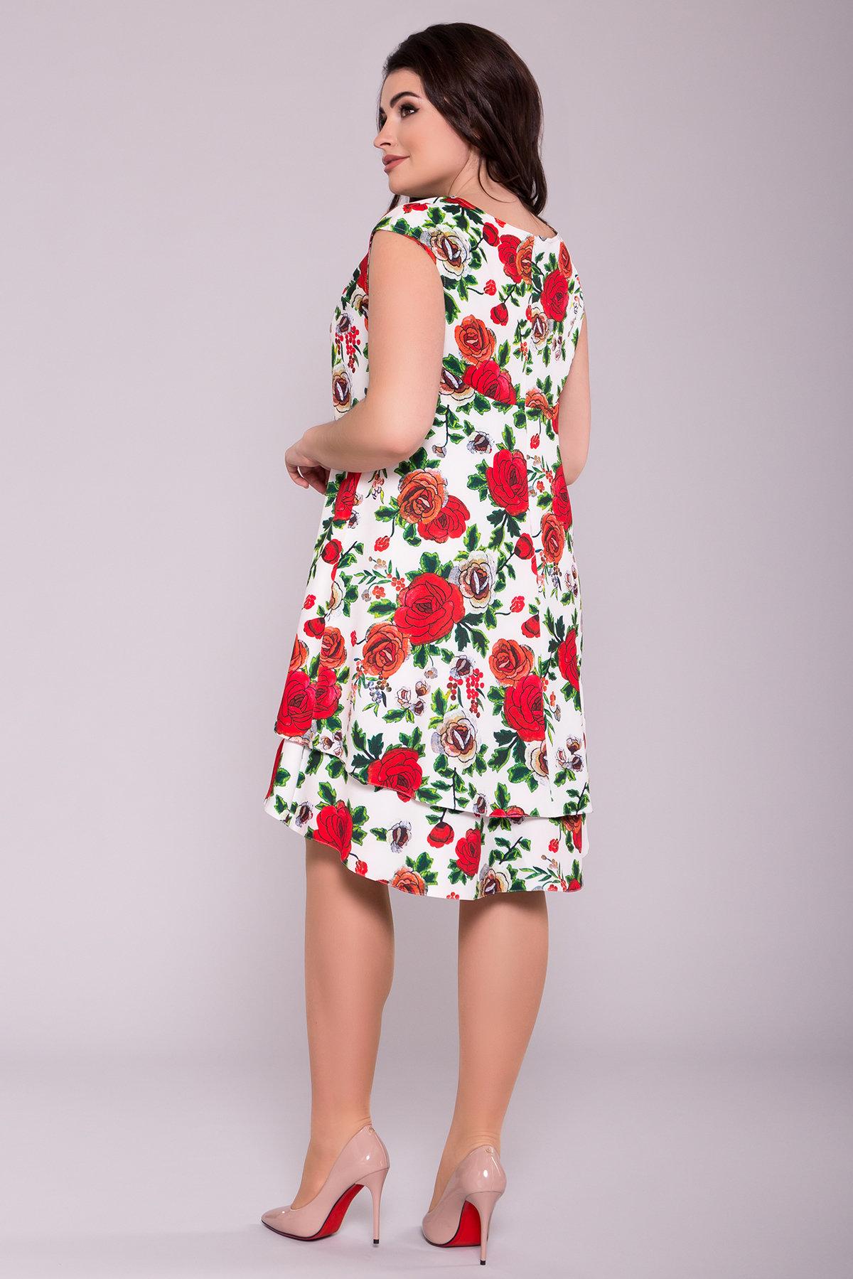 Платье Делафер DONNA 6885 АРТ. 42055 Цвет: Розы молоко/красный - фото 2, интернет магазин tm-modus.ru
