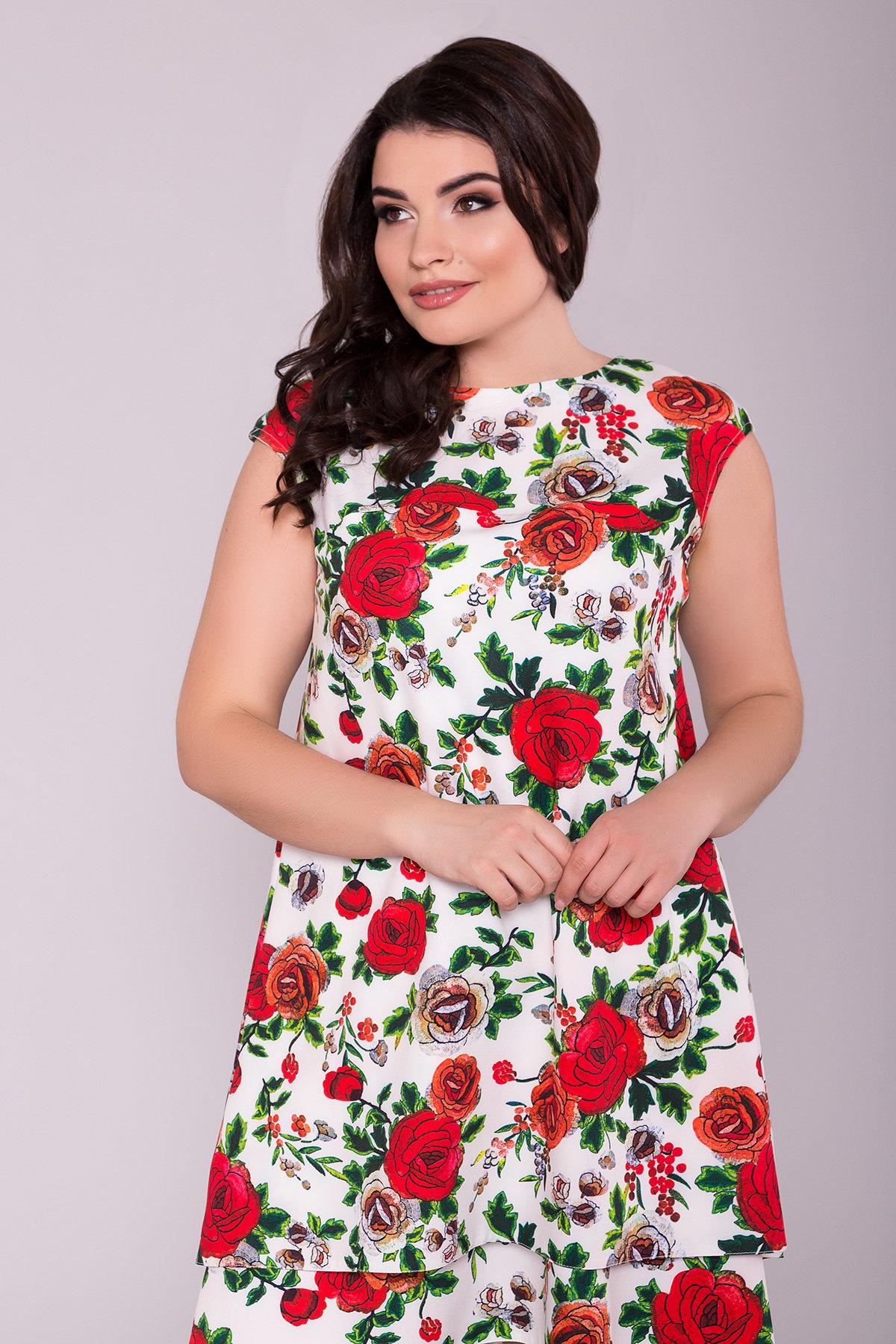 Платье Делафер DONNA 6885 АРТ. 42055 Цвет: Розы молоко/красный - фото 3, интернет магазин tm-modus.ru