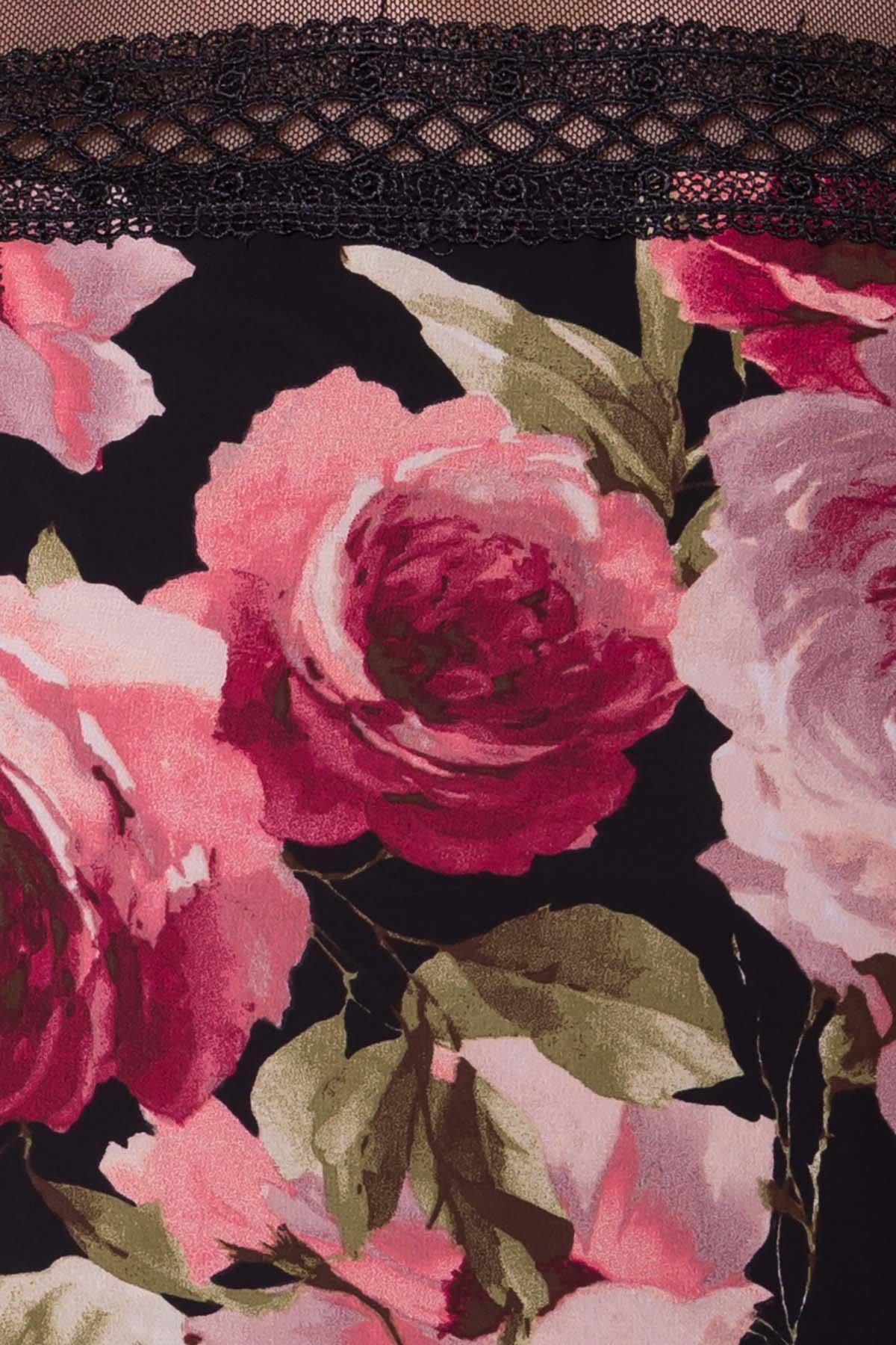 Платье Инга 6968 Цвет: Розы черный/пудра
