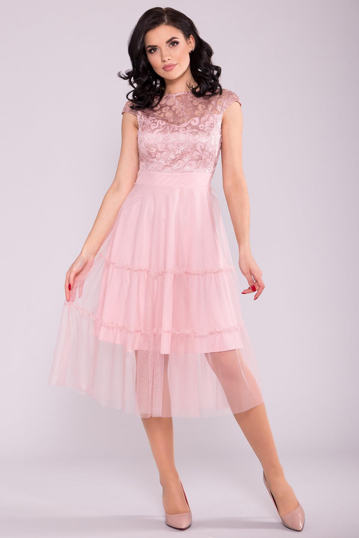 Коктейльное Платье Фати 6490 Цвет: Пудра светлая 11