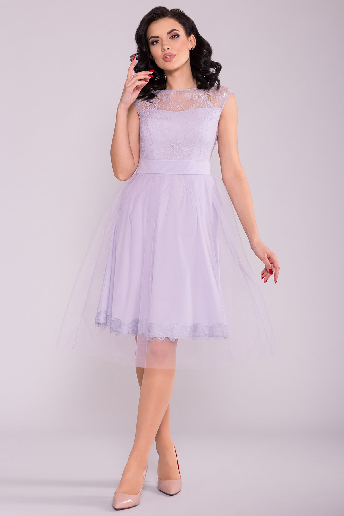 Платье Амур 6872 АРТ. 41986 Цвет: Серо-голубой/серо-голубой - фото 1, интернет магазин tm-modus.ru