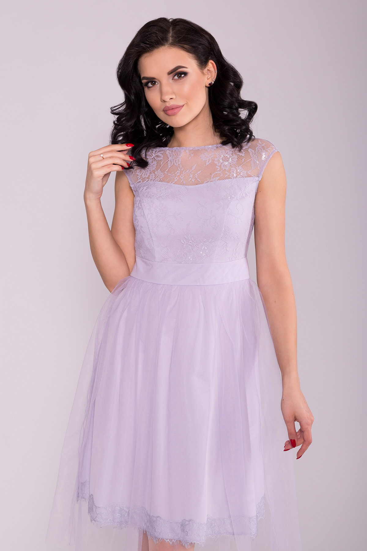 Платье Амур 6872 АРТ. 41986 Цвет: Серо-голубой/серо-голубой - фото 5, интернет магазин tm-modus.ru