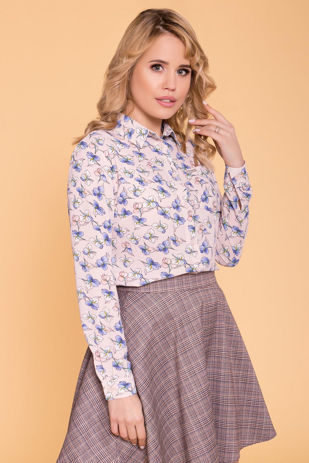 Рубашка Арсела 6790 АРТ. 41874 Цвет: Пудра/голубой ирис - фото 3, интернет магазин tm-modus.ru