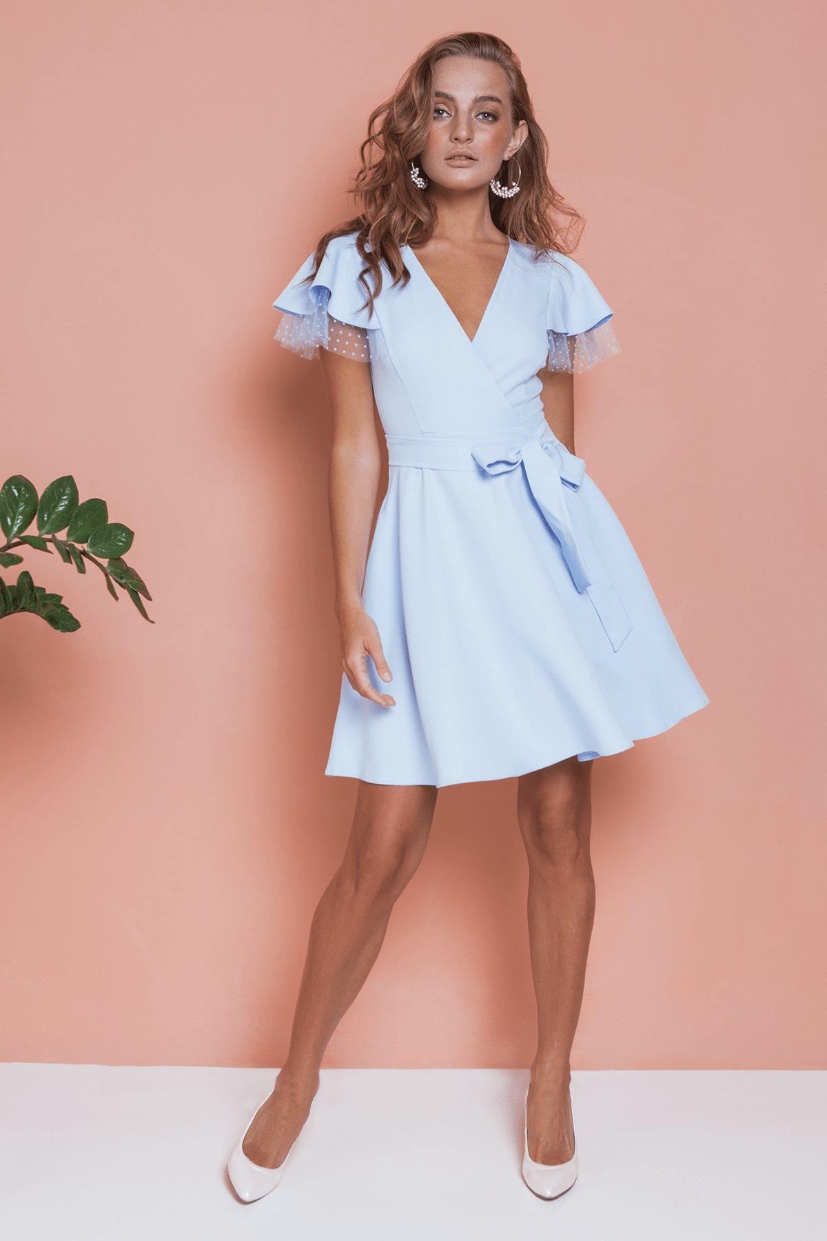 Платье с воланами на плечах Милея 6788 АРТ. 42017 Цвет: Голубой - фото 6, интернет магазин tm-modus.ru