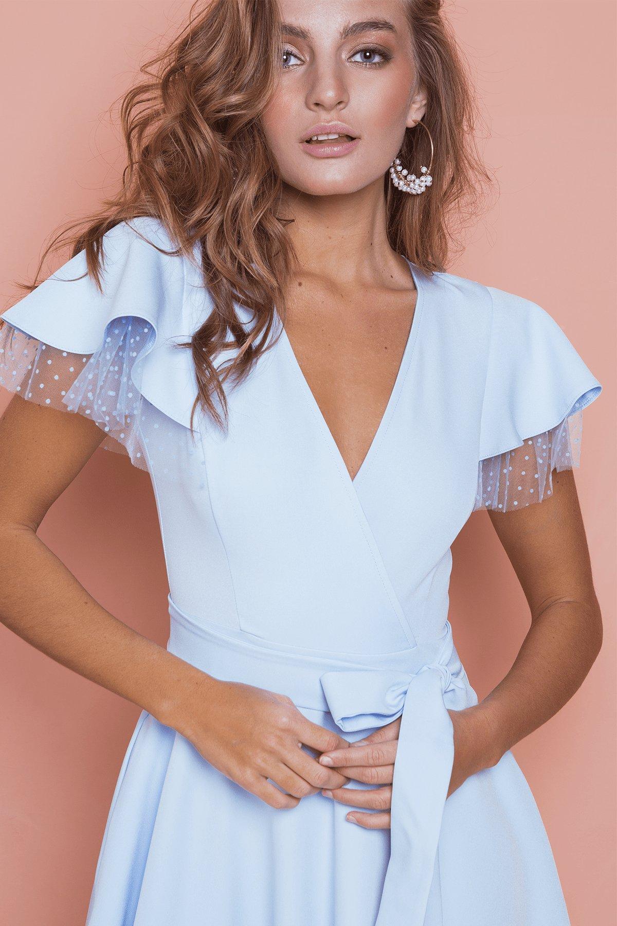 Платье с воланами на плечах Милея 6788 АРТ. 42017 Цвет: Голубой - фото 8, интернет магазин tm-modus.ru