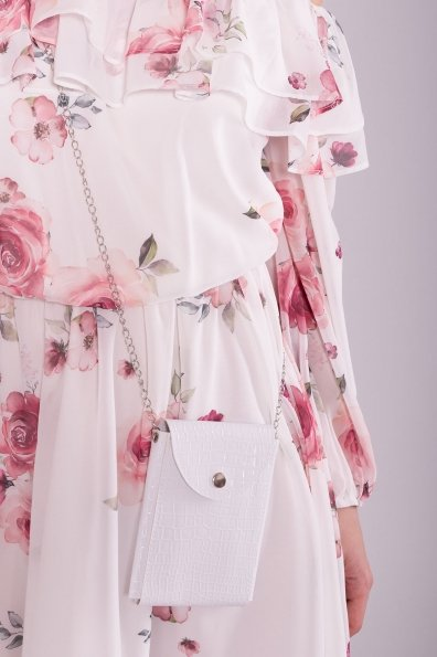 Белое Платье с цветами 6952 Цвет: Молоко Розы