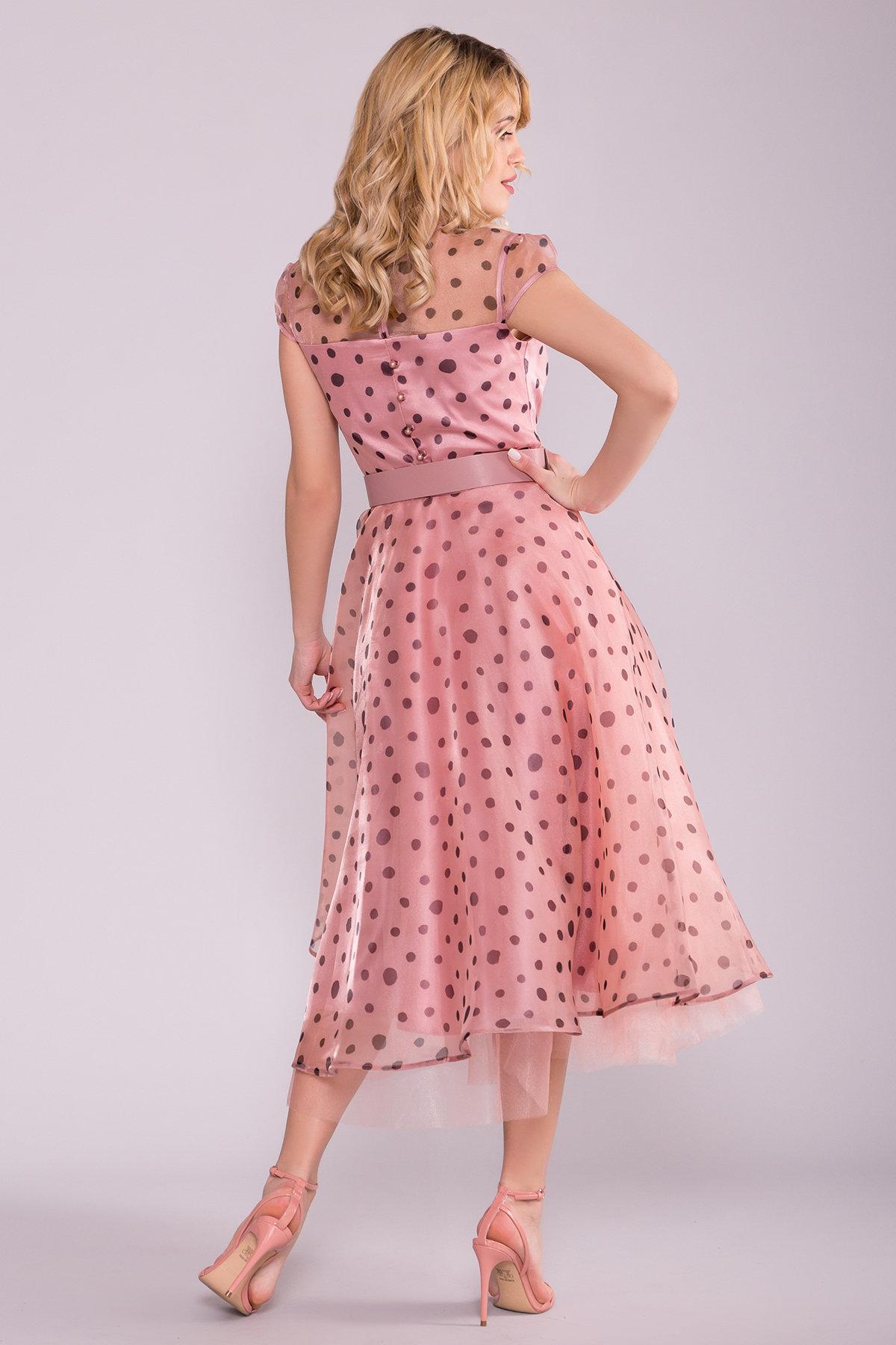 Стильное Платье в крупный горох 6947 АРТ. 42328 Цвет: Пудра/Черный - фото 2, интернет магазин tm-modus.ru