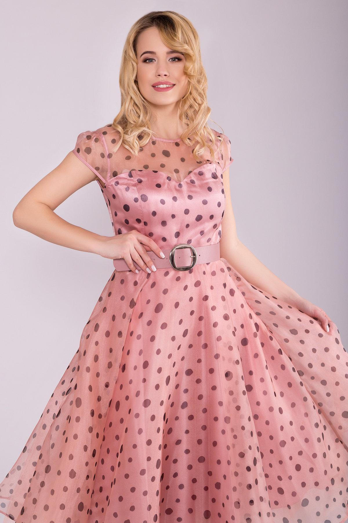 Стильное Платье в крупный горох 6947 АРТ. 42328 Цвет: Пудра/Черный - фото 3, интернет магазин tm-modus.ru