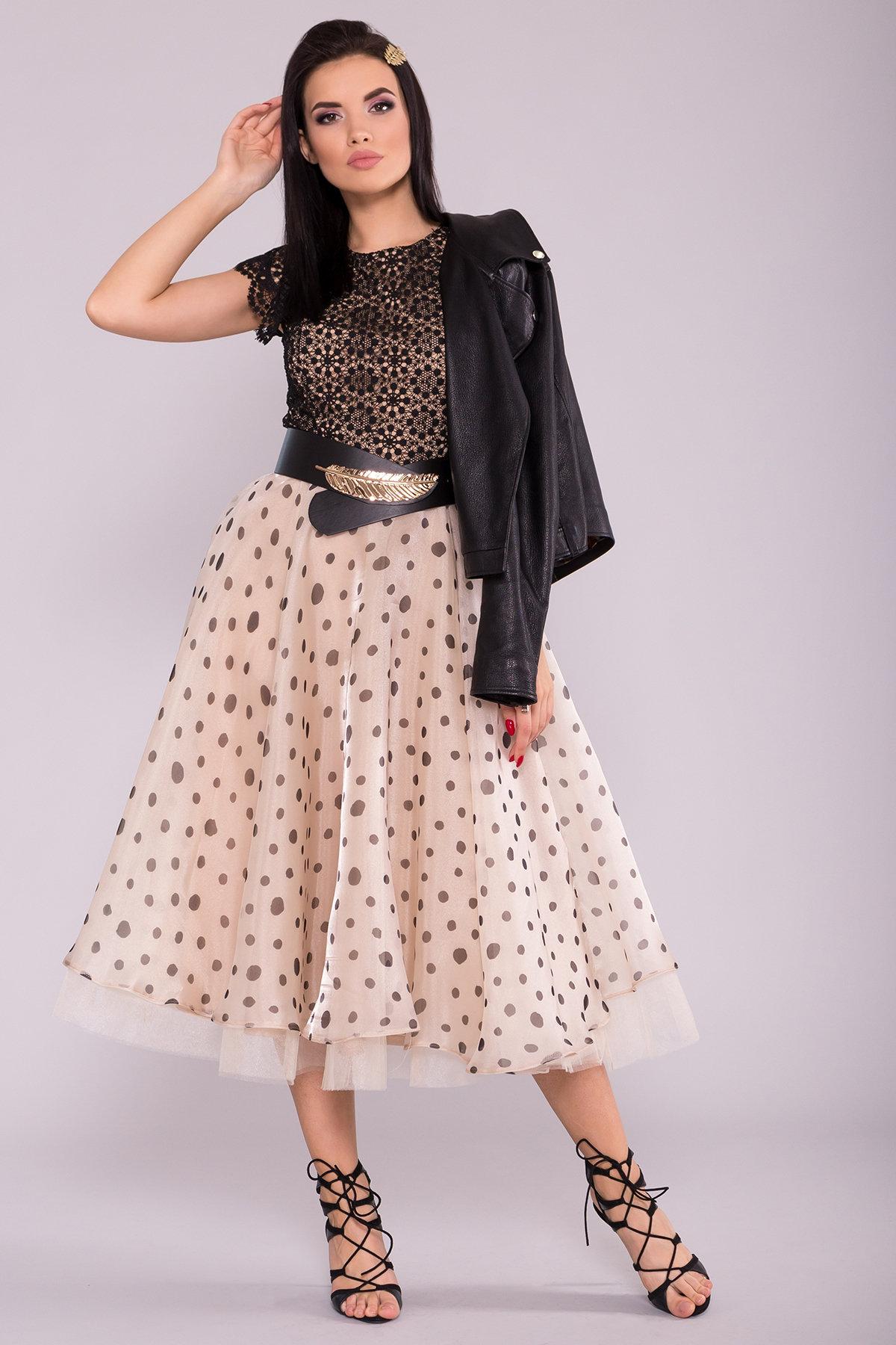 Модное платье в горох 6950 Цвет: Бежевый/Черный