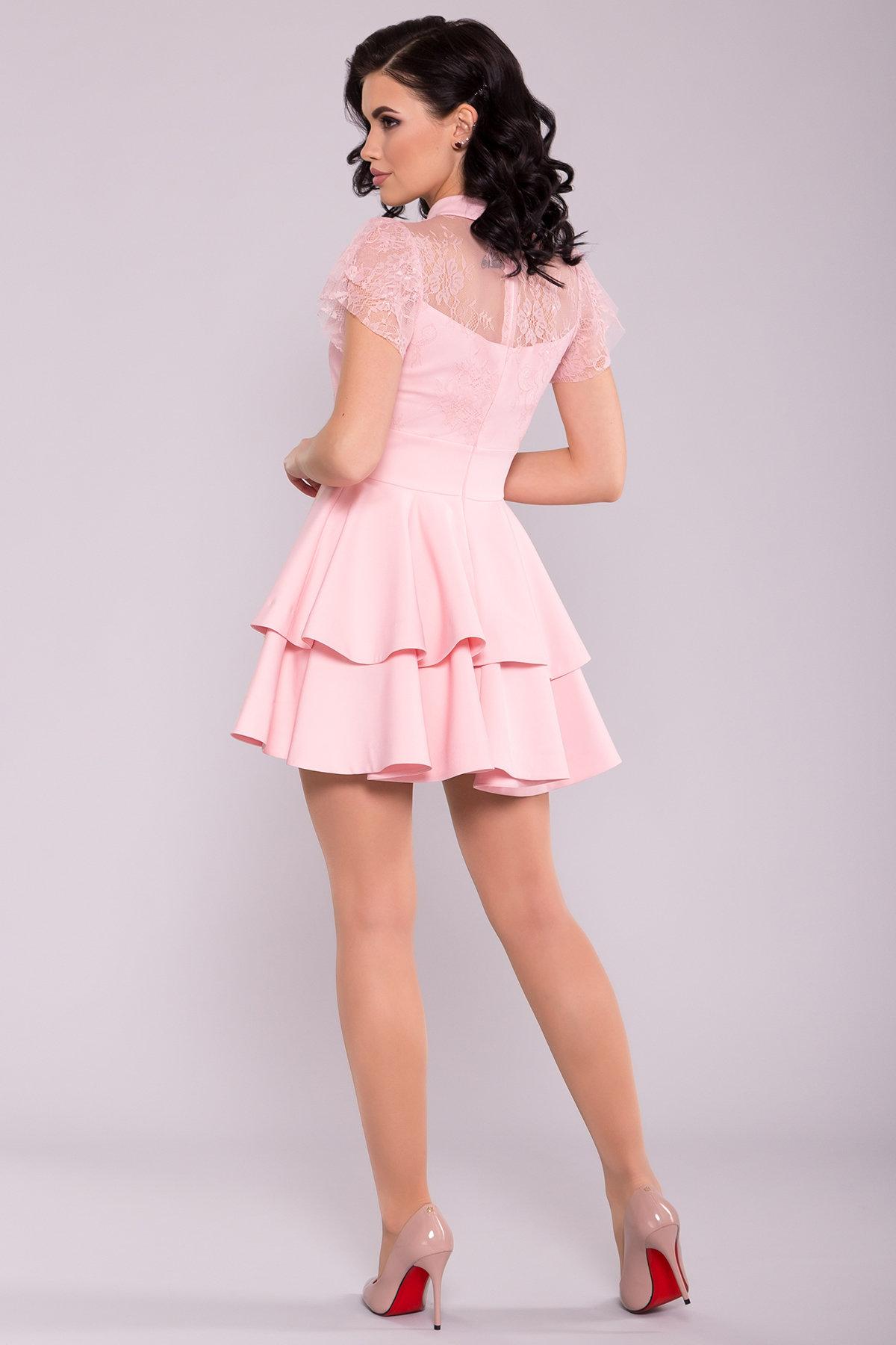 Короткое Платье с гипюром Николь лайт 6934 Цвет: Пудра светлая 6