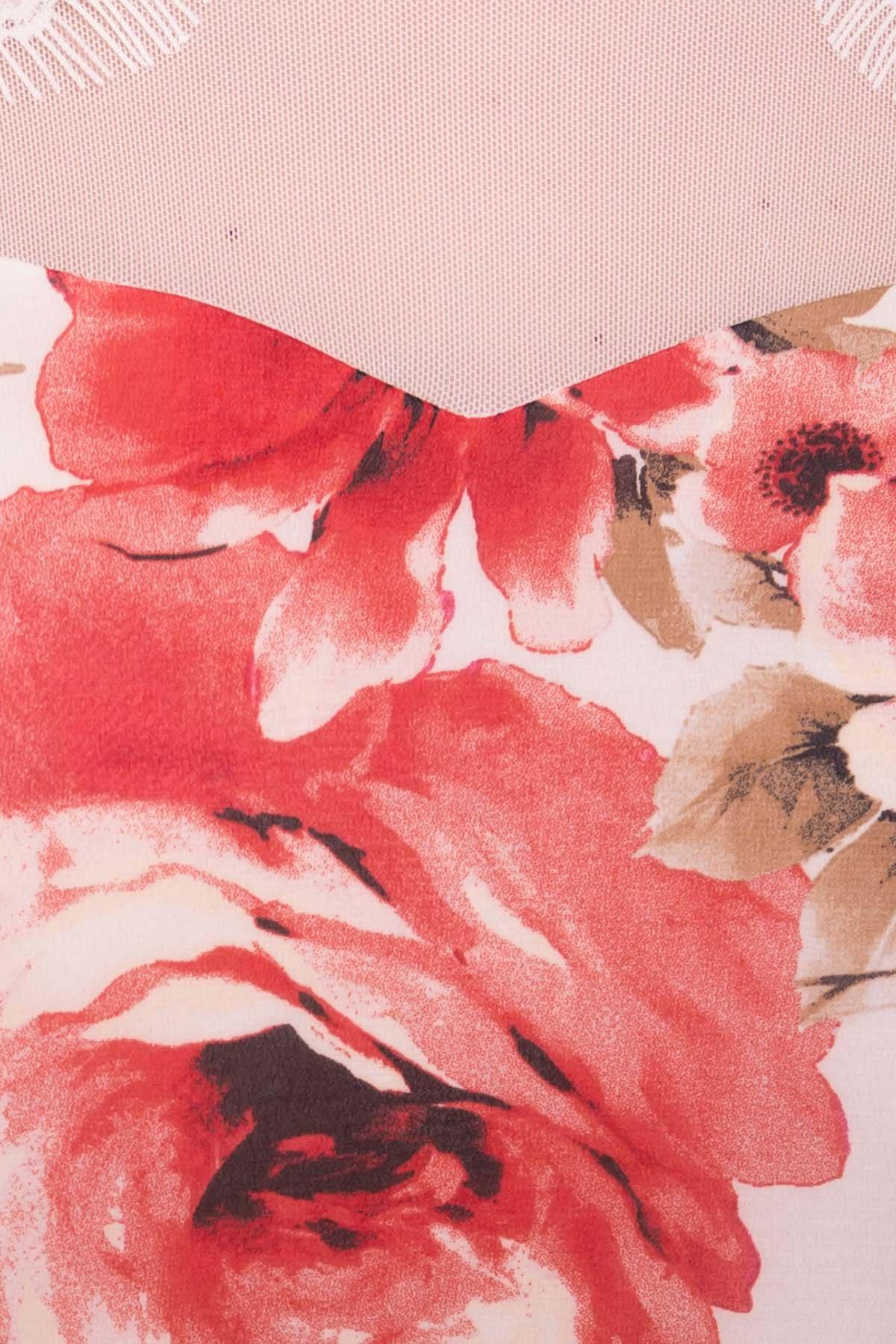 Платье Нектар 6916 Цвет: Розы молоко/коралл