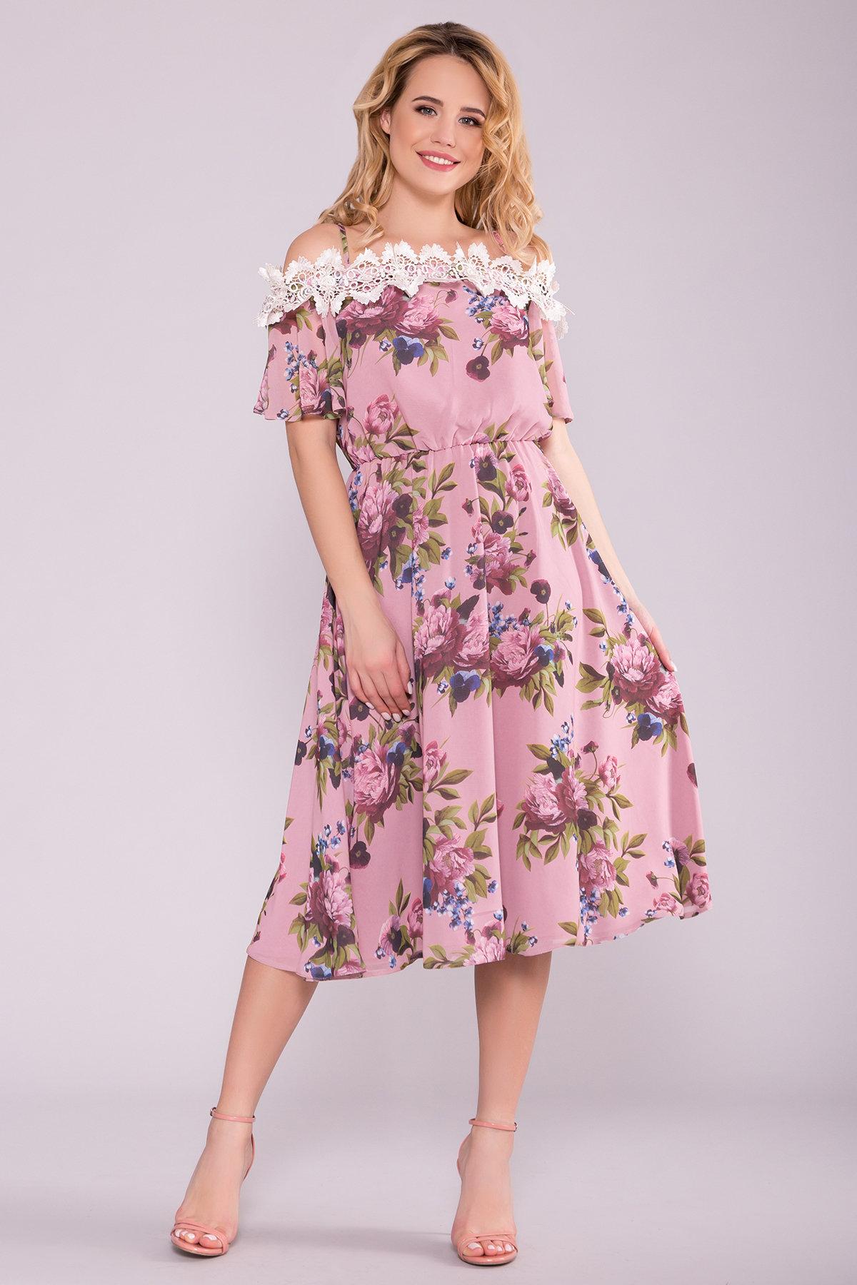 Платье Маргарет 6924 АРТ. 42294 Цвет: Пудра Пионы - фото 3, интернет магазин tm-modus.ru