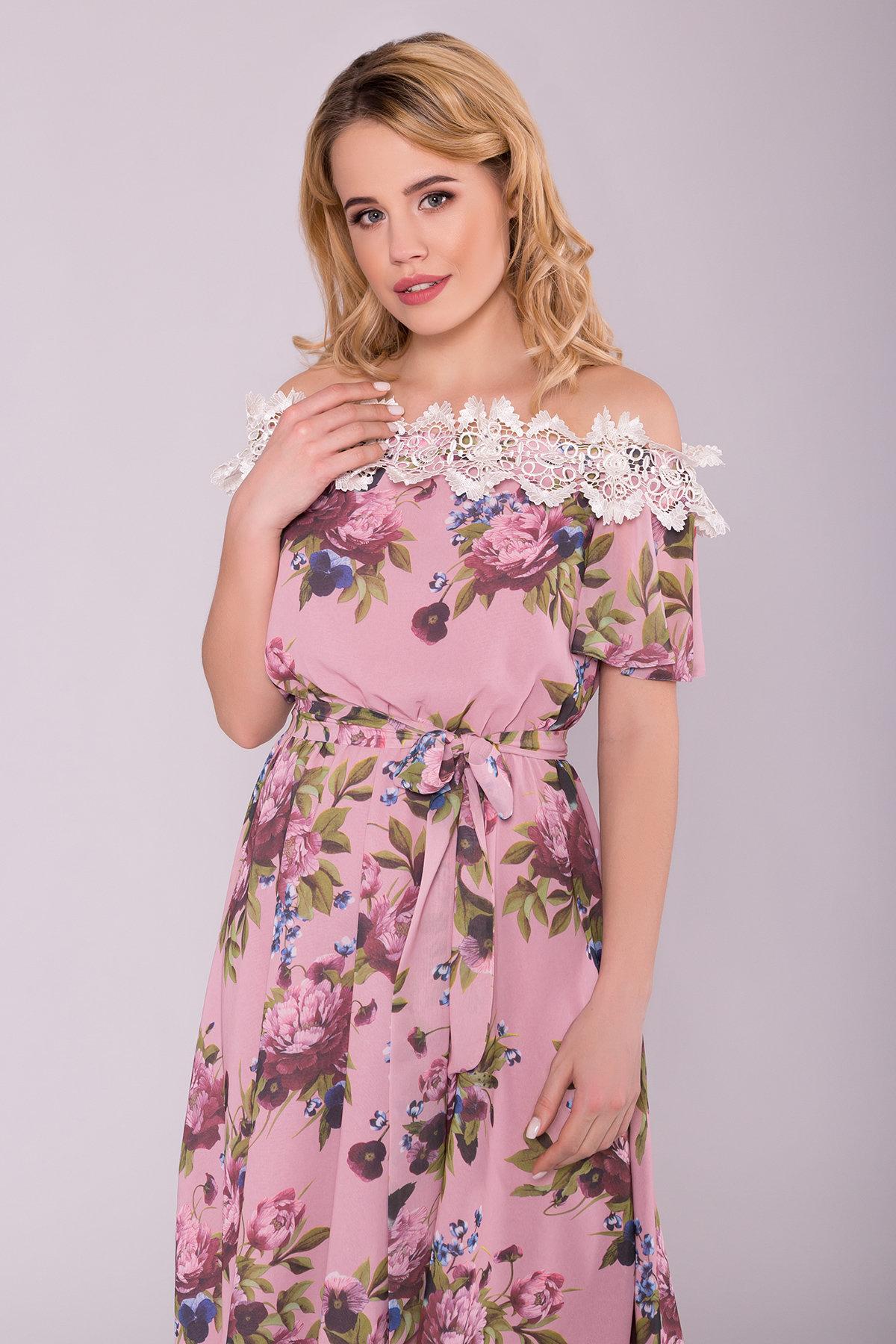 Платье Маргарет 6924 АРТ. 42294 Цвет: Пудра Пионы - фото 4, интернет магазин tm-modus.ru