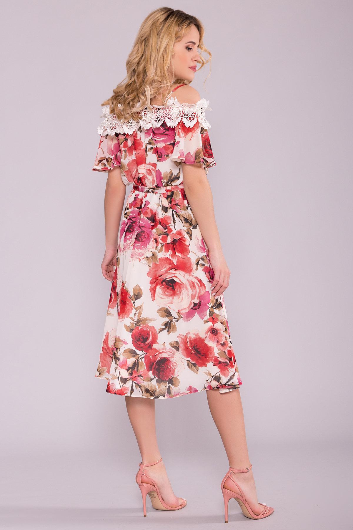 Платье Маргарет 6924 АРТ. 42293 Цвет: Розы молоко/коралл - фото 2, интернет магазин tm-modus.ru