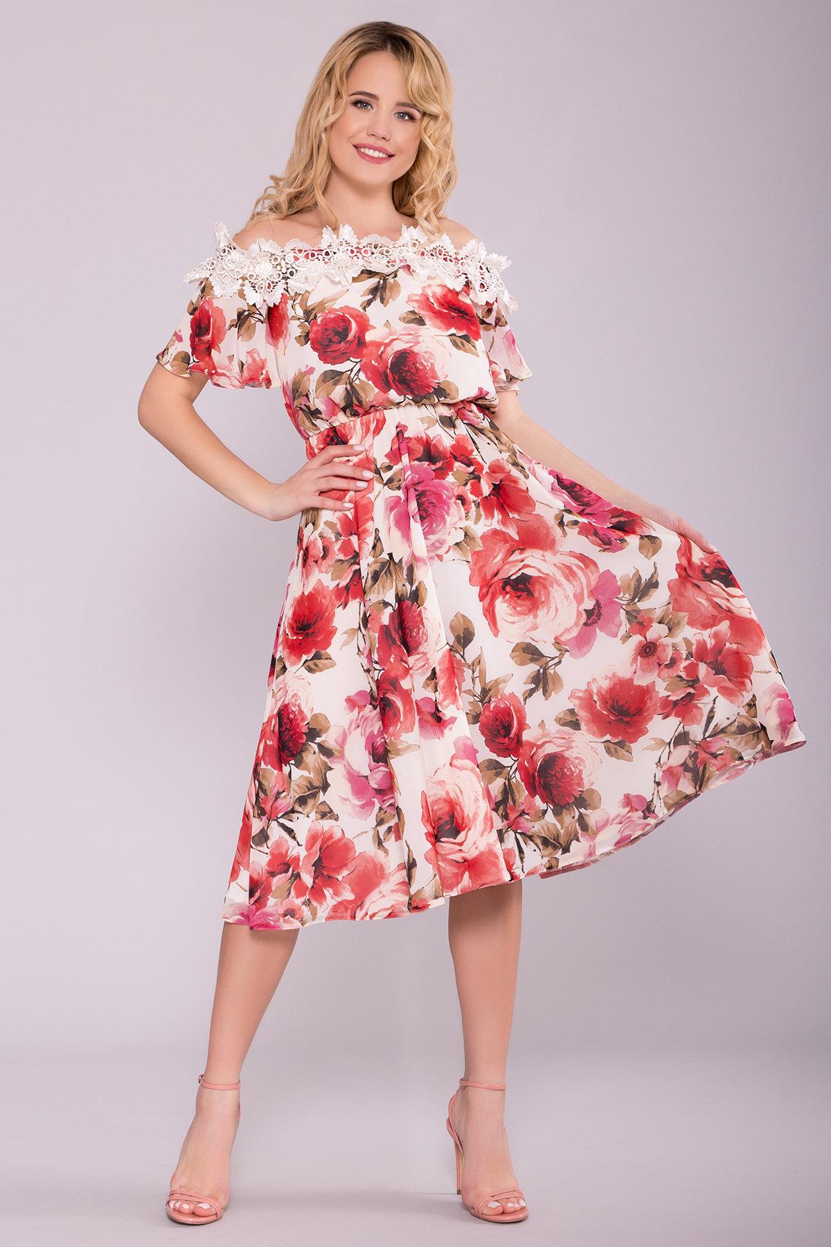 Платье Маргарет 6924 АРТ. 42293 Цвет: Розы молоко/коралл - фото 3, интернет магазин tm-modus.ru