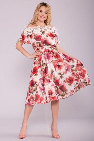 Платье Маргарет 6924 Цвет: Розы молоко/коралл