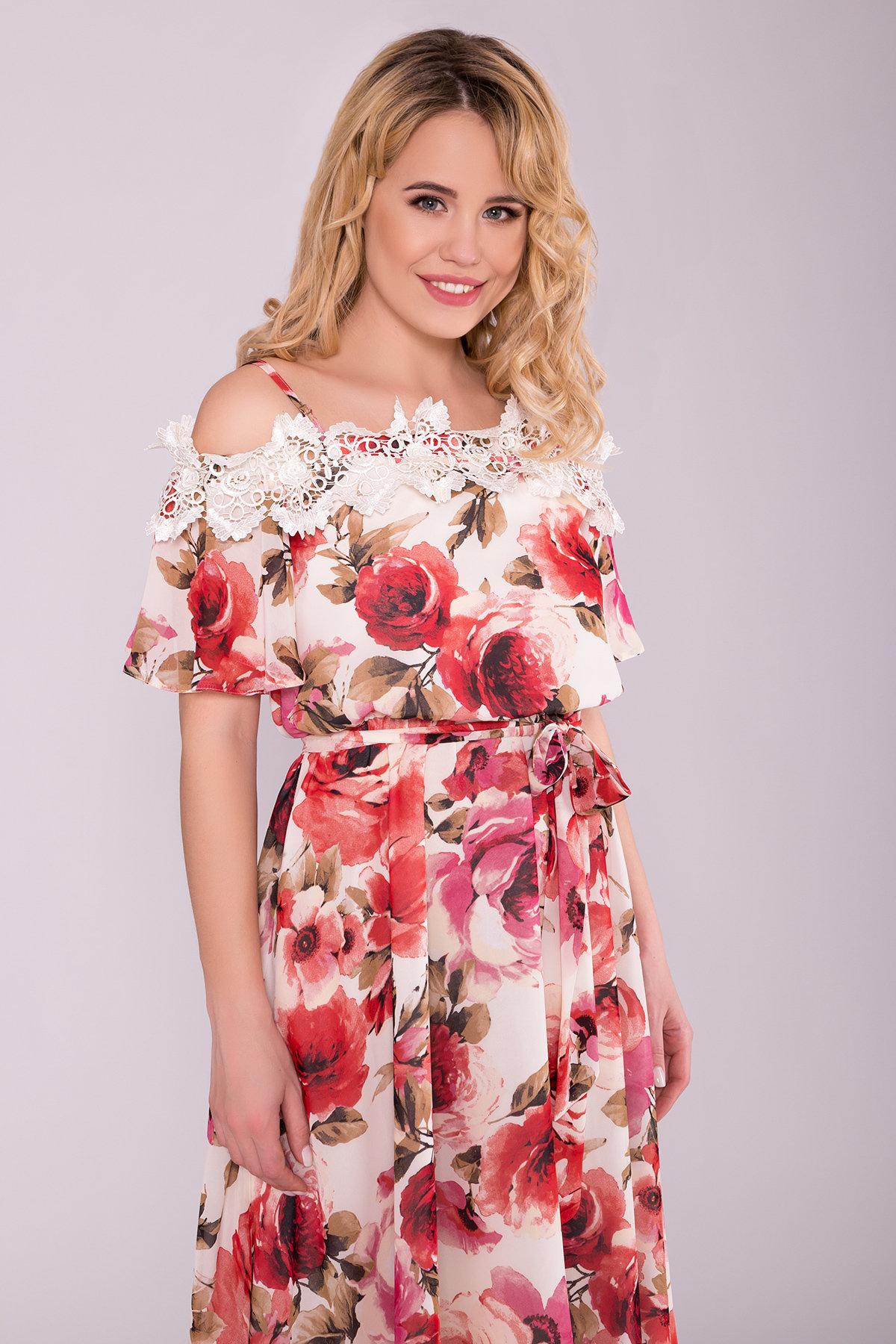Платье Маргарет 6924 АРТ. 42293 Цвет: Розы молоко/коралл - фото 4, интернет магазин tm-modus.ru