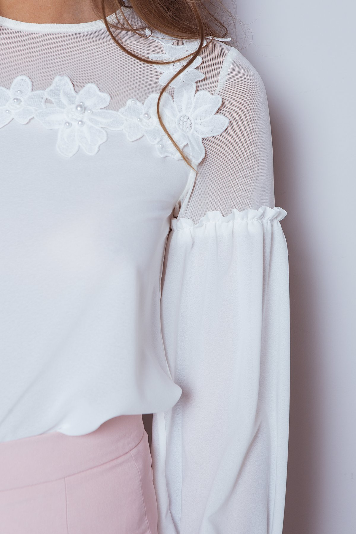Шифоновая блузка Асия 3230 Цвет: Молоко