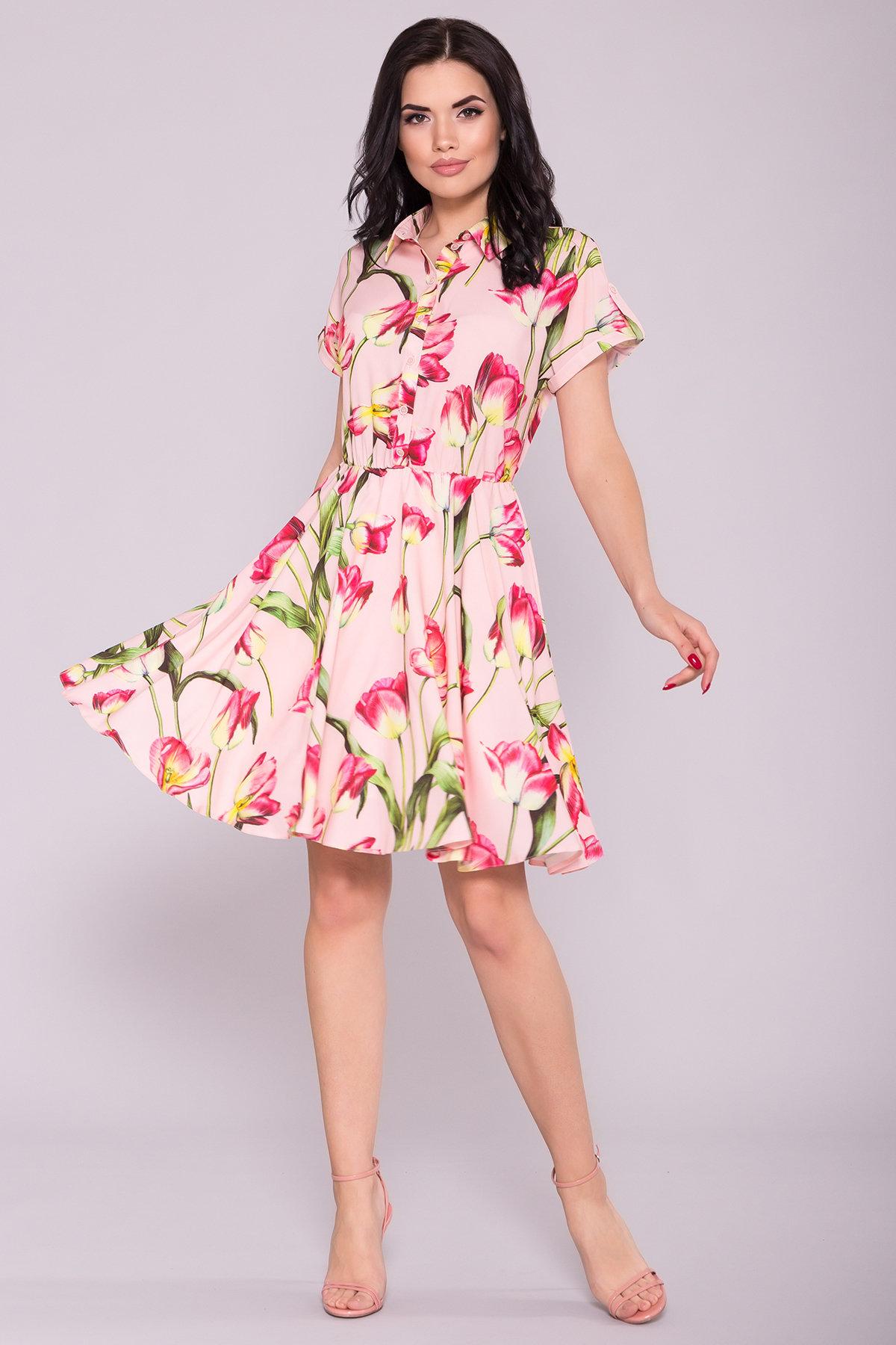 Платье Санжар 7061 Цвет: Тюльпан пудра/розовый