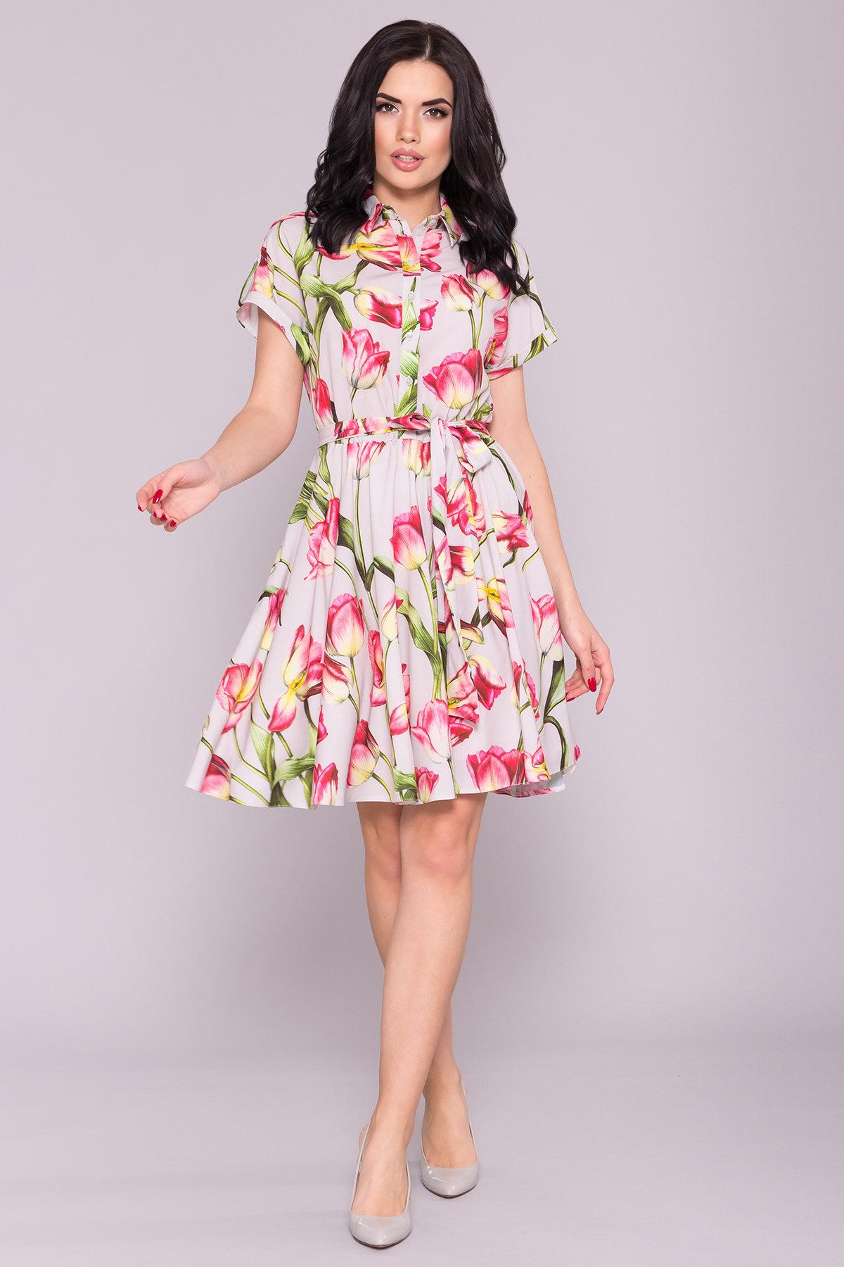 Платье Санжар 7061 Цвет: Тюльпан серый/розовый