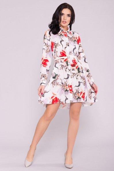Платье - рубашка Бри 7053 Цвет: цветы комби молоко/ коралл