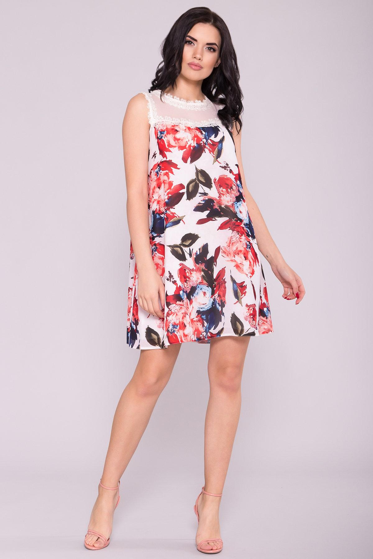 Платье Бриз 6933 Цвет: Розы абстракция молоко/коралл