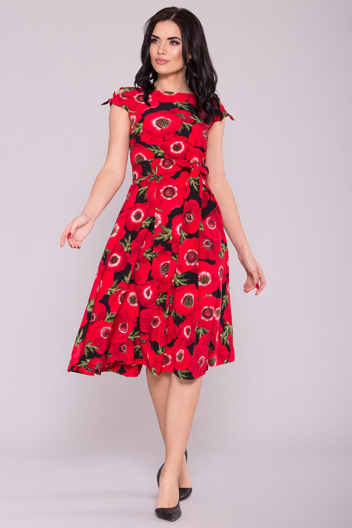 Платье Жадор 7055 Цвет: Маки крупные красный/черный