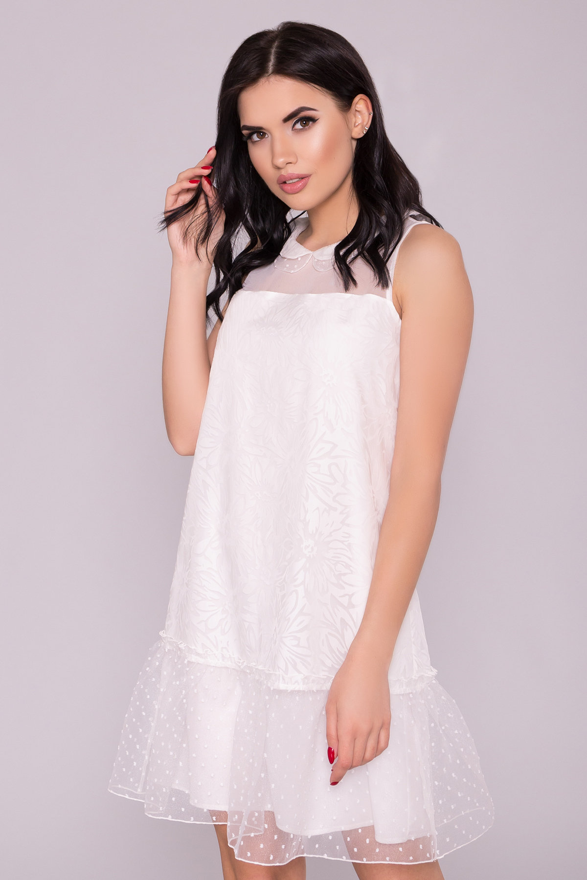 Платье Манила 6978 АРТ. 42369 Цвет: Молоко/мушка/Молоко - фото 3, интернет магазин tm-modus.ru