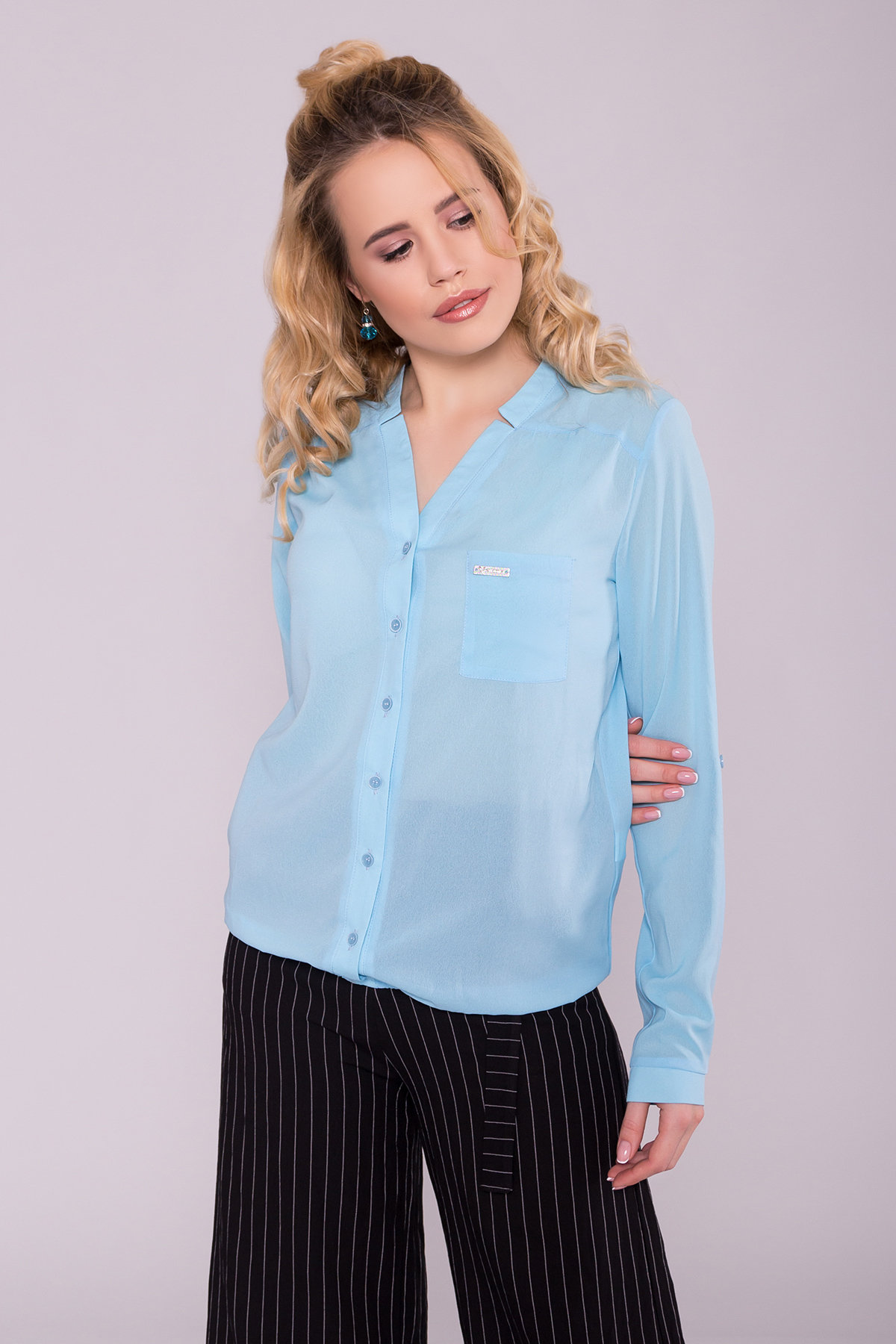 Шифоновая рубашка с длинным рукавом Кумир 7099 Цвет: Голубой