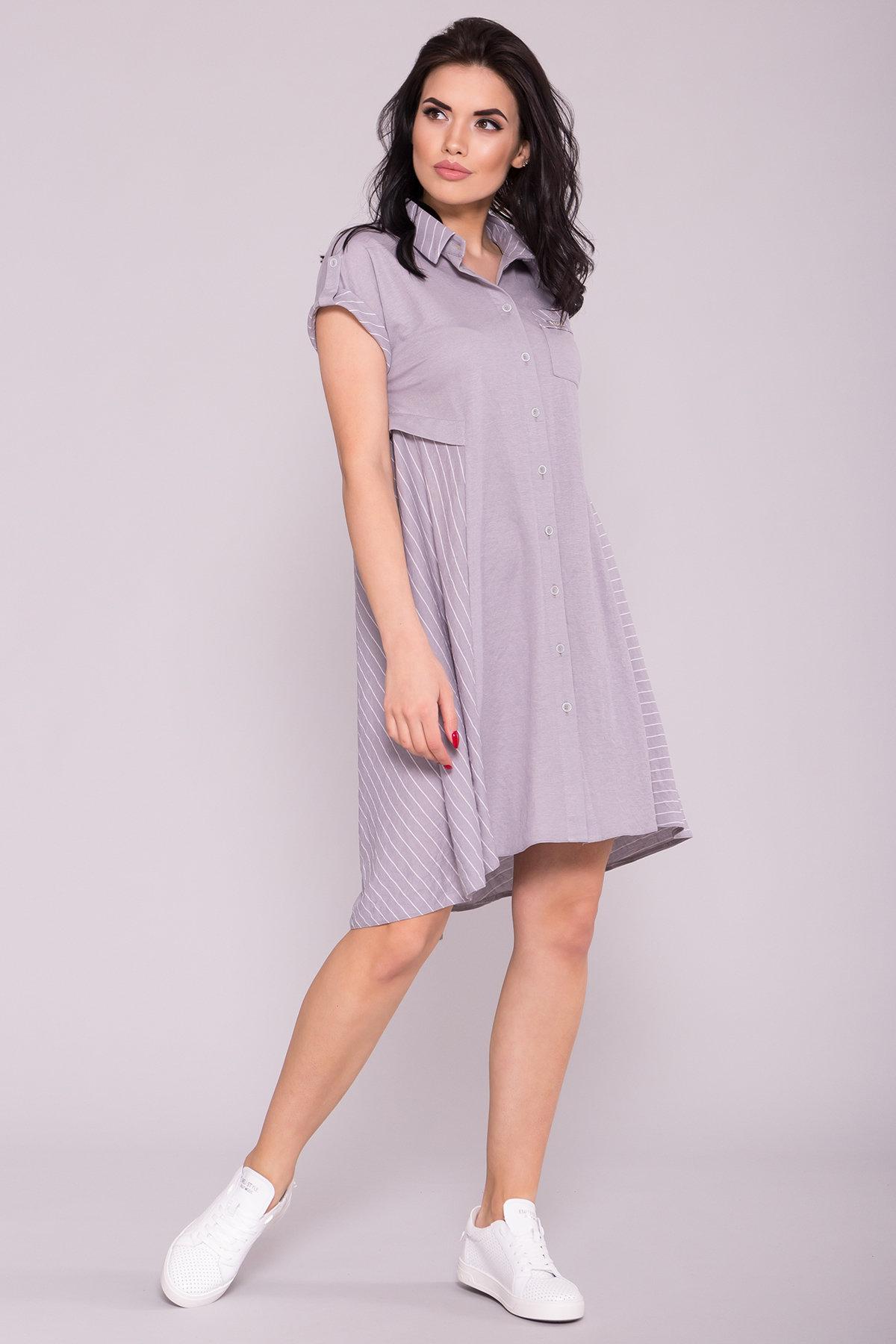 Платье Грея 7142 Цвет: Серый/полоска молоко