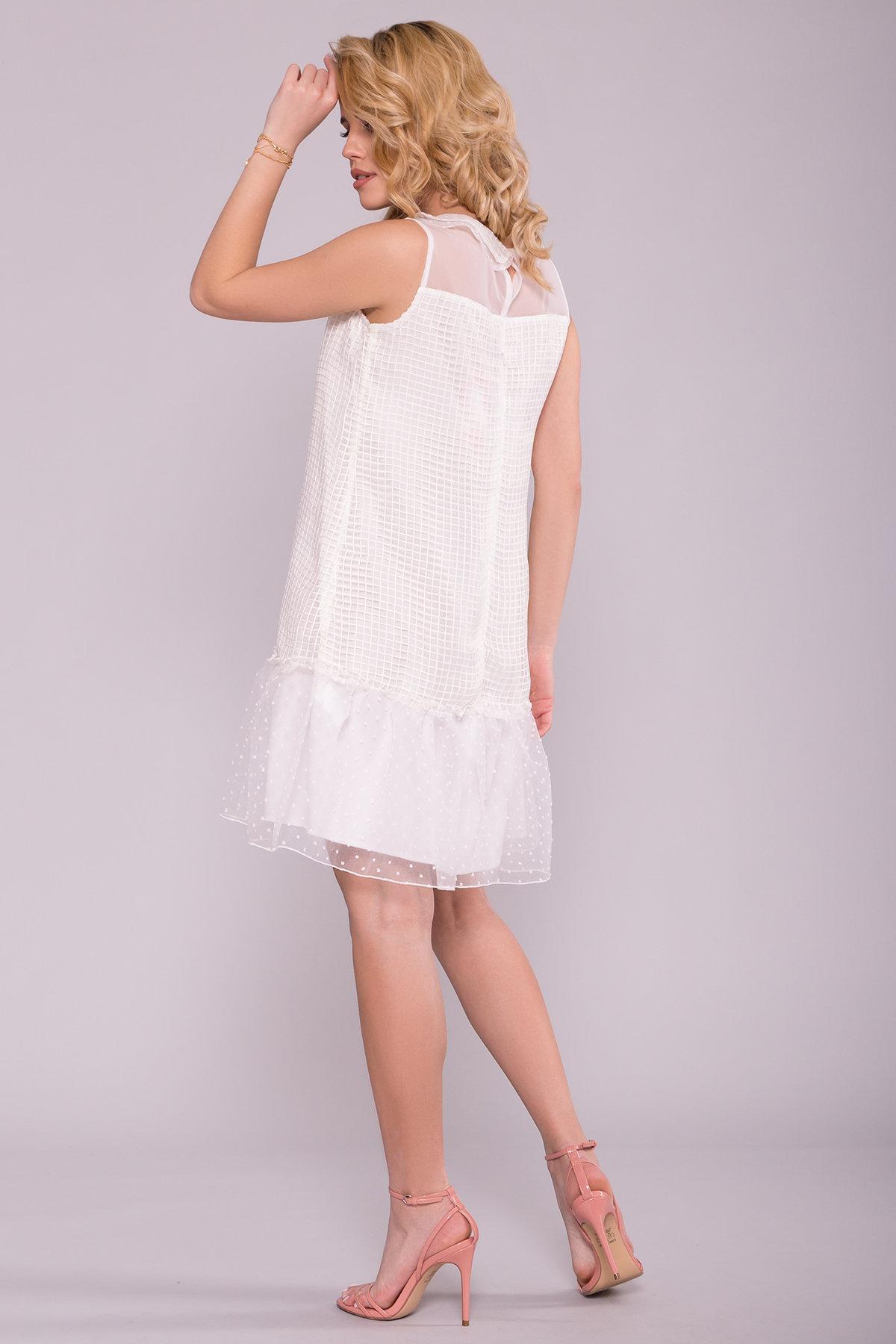 Платье Трапеция Манила 7120 Цвет: Клетка молоко/мушка/молоко