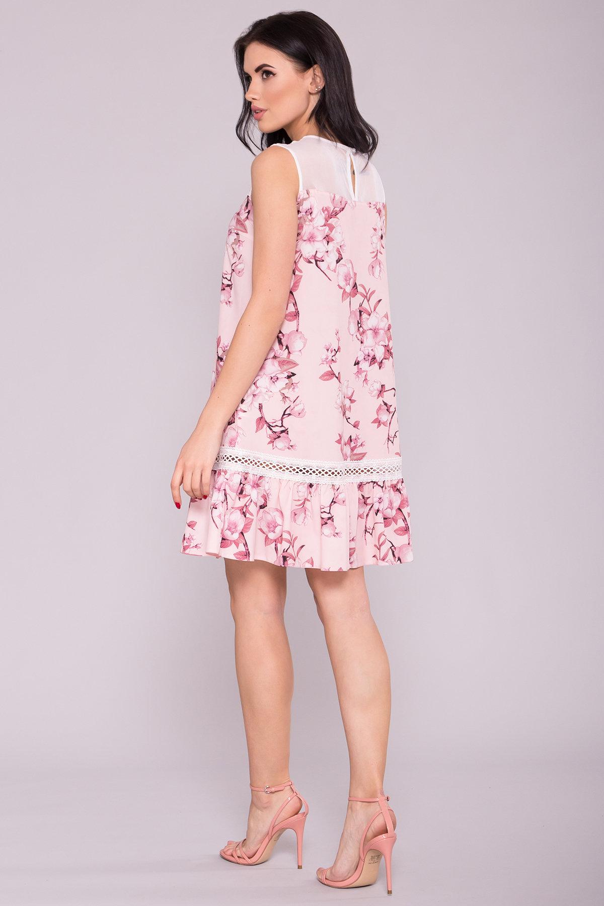 Платье Инга 7063 АРТ. 42359 Цвет: Цветы на ветке пудра темная - фото 2, интернет магазин tm-modus.ru