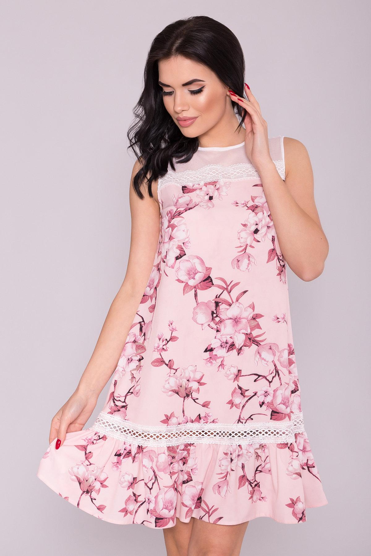 Платье Инга 7063 АРТ. 42359 Цвет: Цветы на ветке пудра темная - фото 3, интернет магазин tm-modus.ru