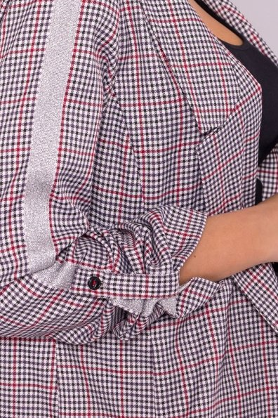 Клетчатый жакет с лампасами Лоа 6881 Цвет: бел/чер/кр/сереб
