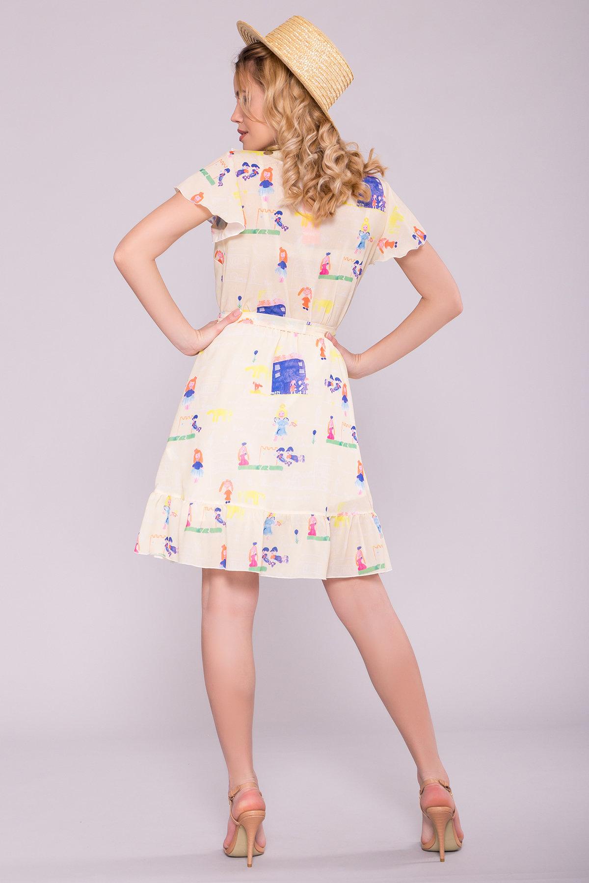 Платье Лигра 7096 АРТ. 42436 Цвет: Лимон дет.рис.14/3 - фото 2, интернет магазин tm-modus.ru