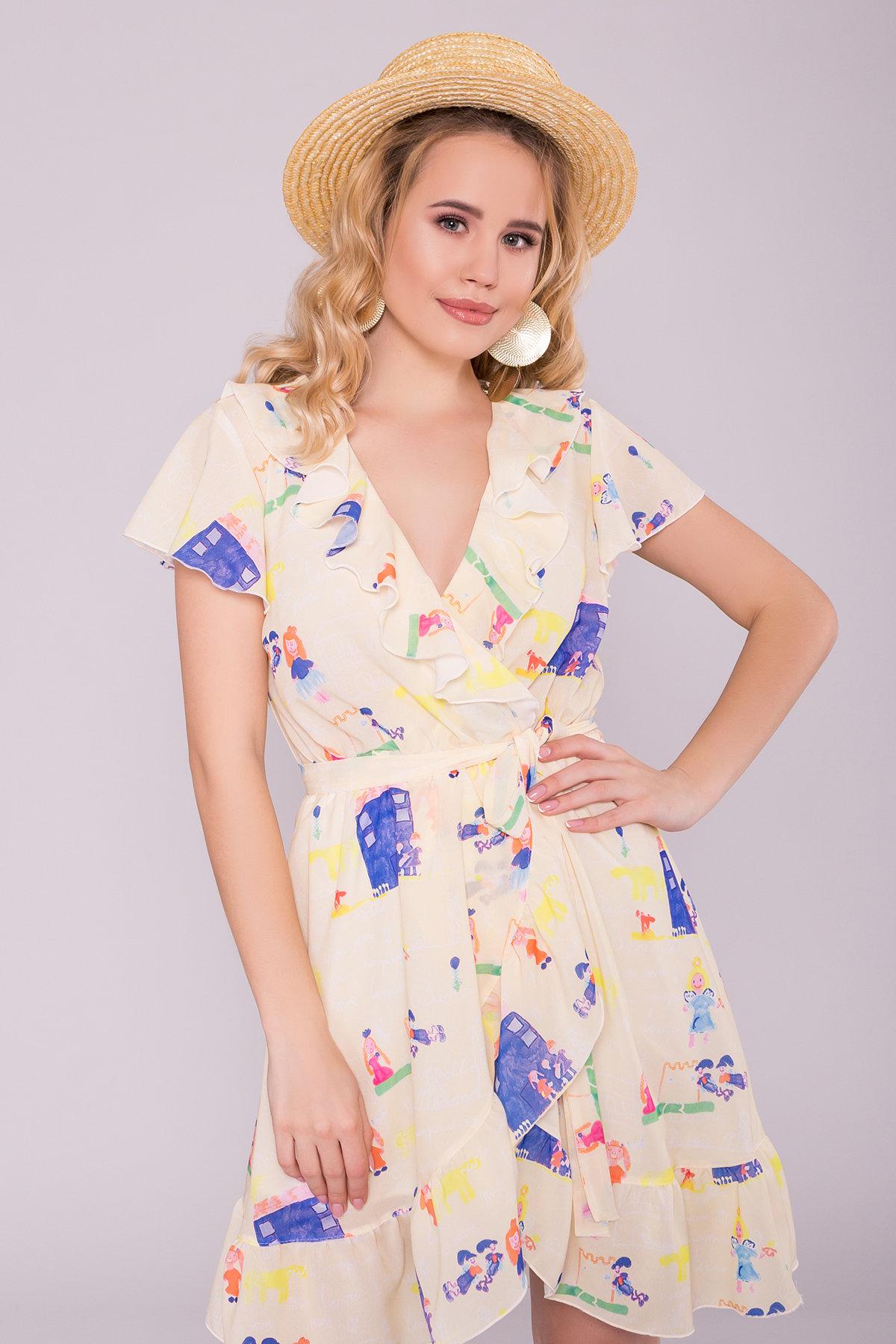 Платье Лигра 7096 АРТ. 42436 Цвет: Лимон дет.рис.14/3 - фото 3, интернет магазин tm-modus.ru