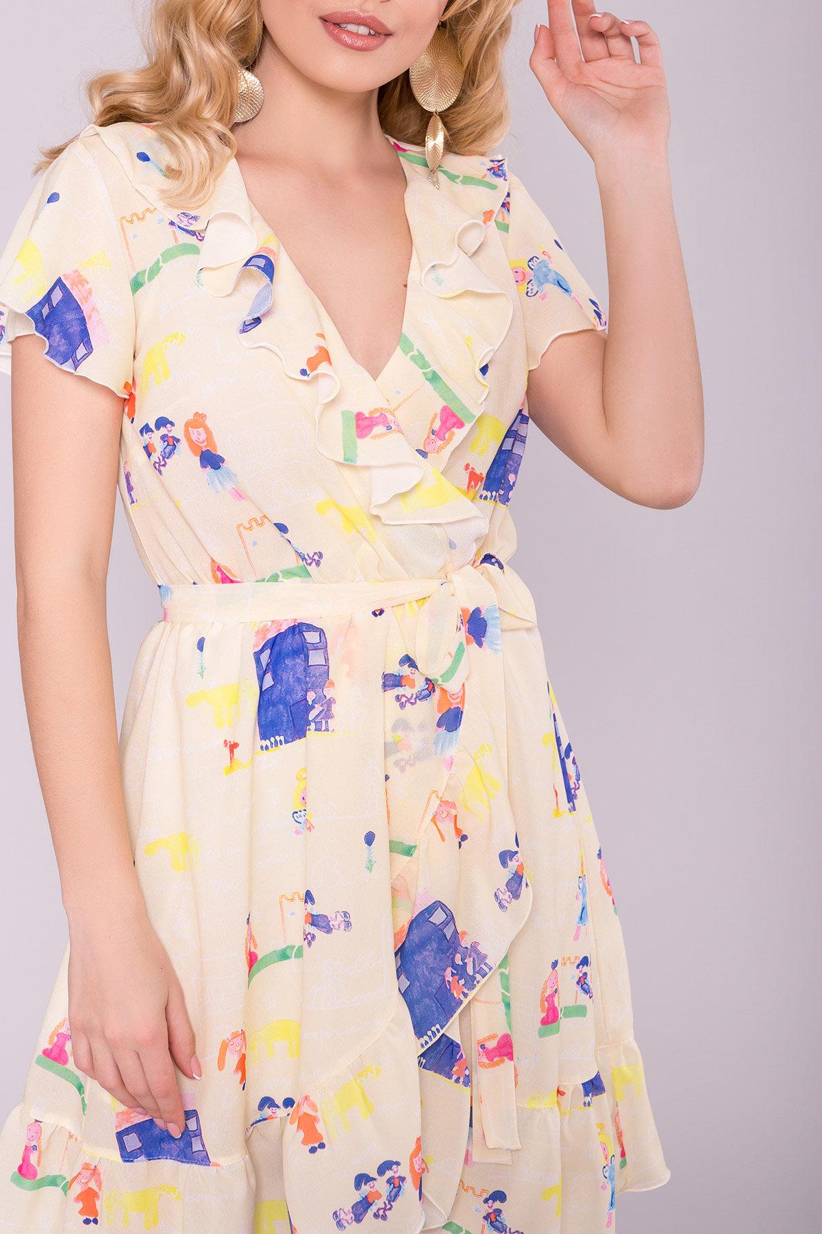 Платье Лигра 7096 АРТ. 42436 Цвет: Лимон дет.рис.14/3 - фото 4, интернет магазин tm-modus.ru