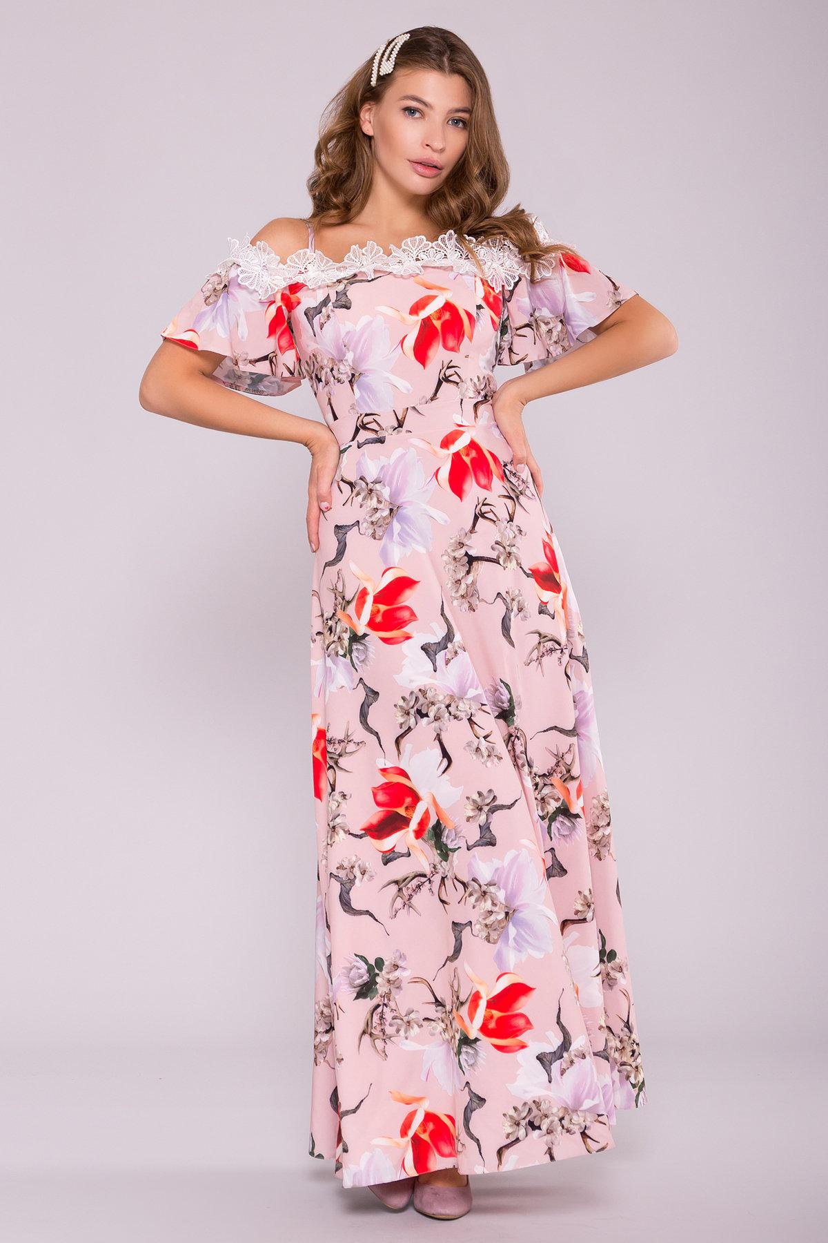 Платье Монриа 7056 Цвет: цветы комби пудра/ коралл